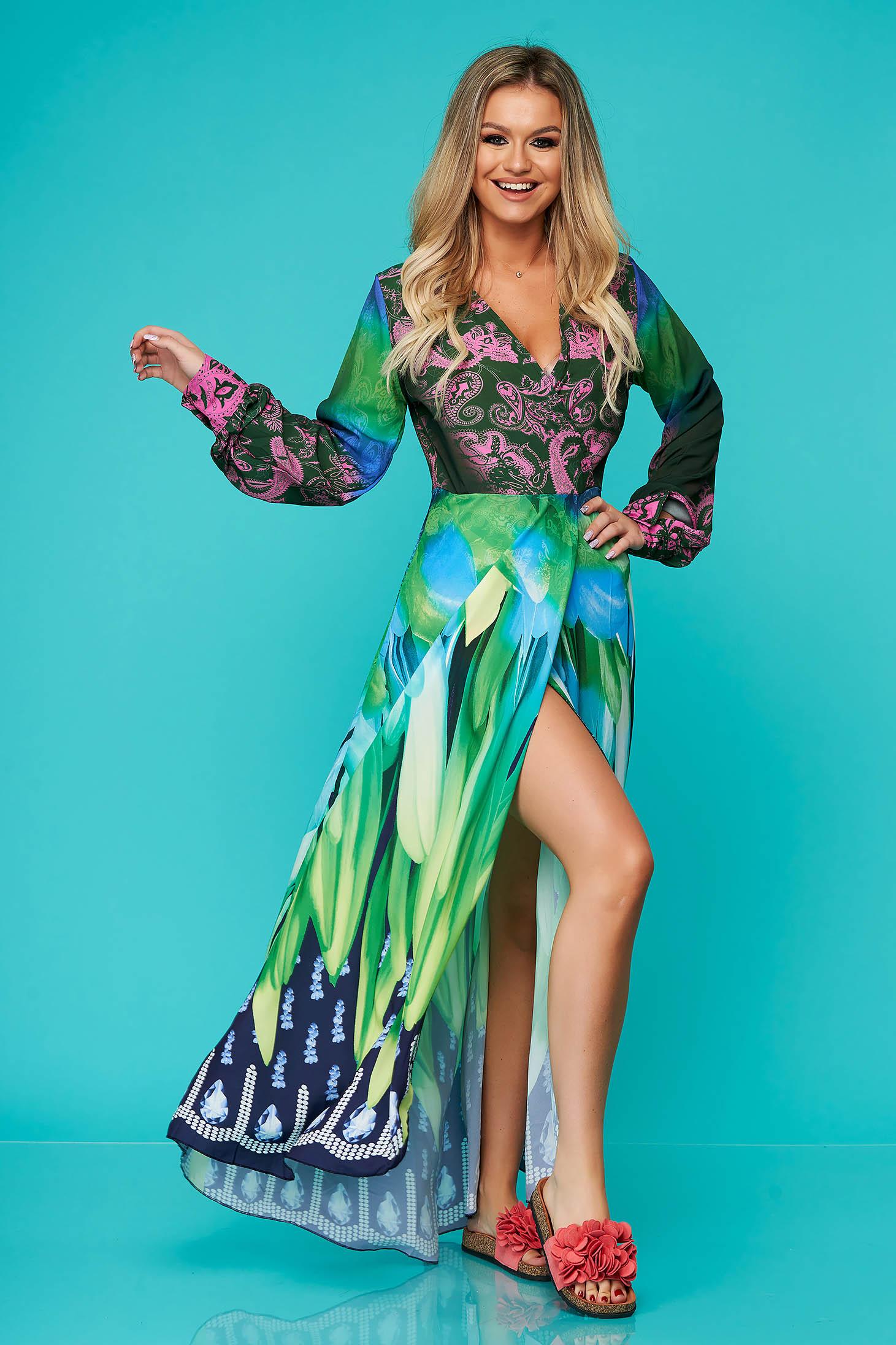 Rochie SunShine verde lunga de zi in clos cu maneci lungi si fusta petrecuta
