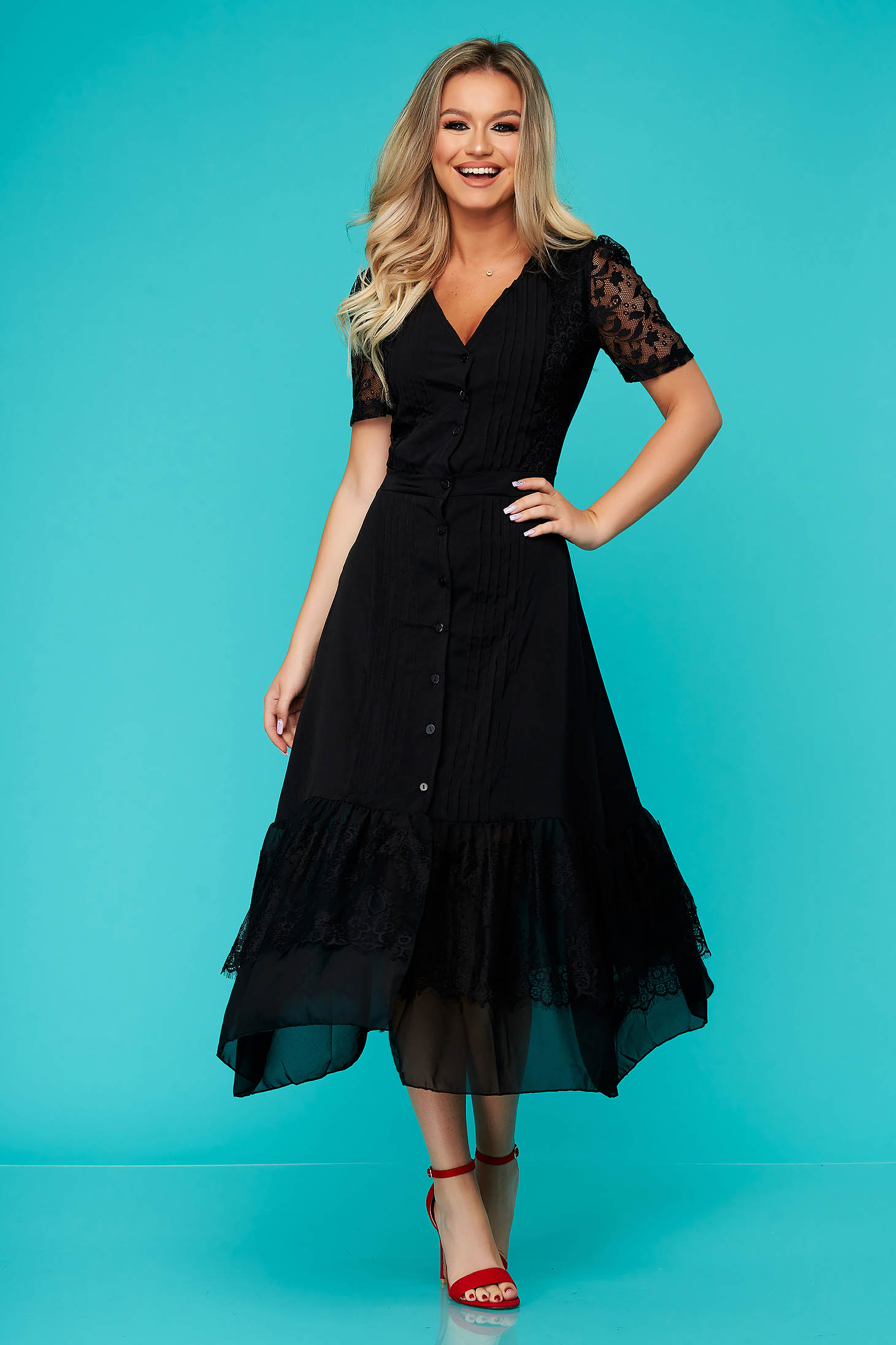 Dress black midi daily cloche short sleeves laced