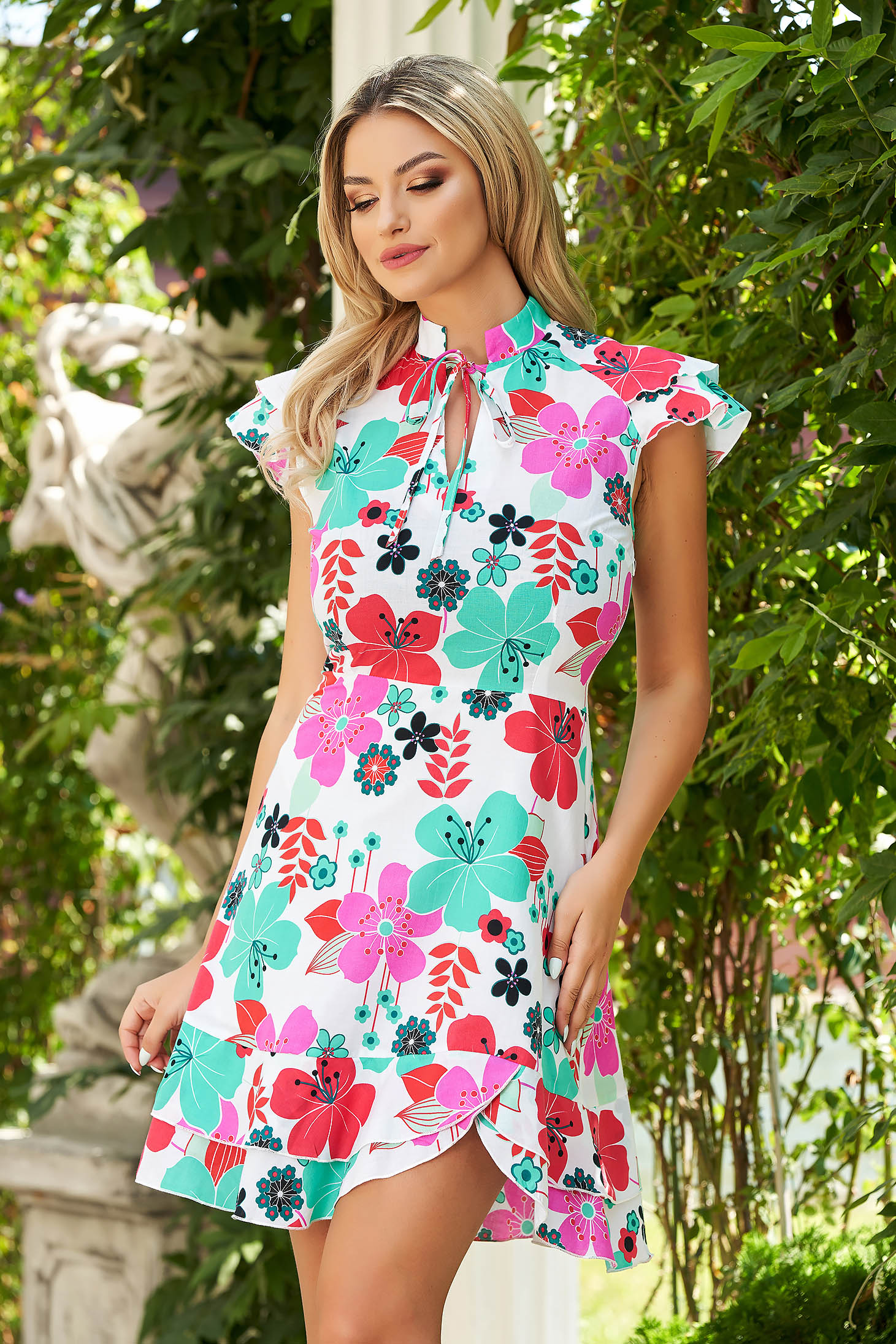 White dress short cut cloche thin fabric with floral print daily