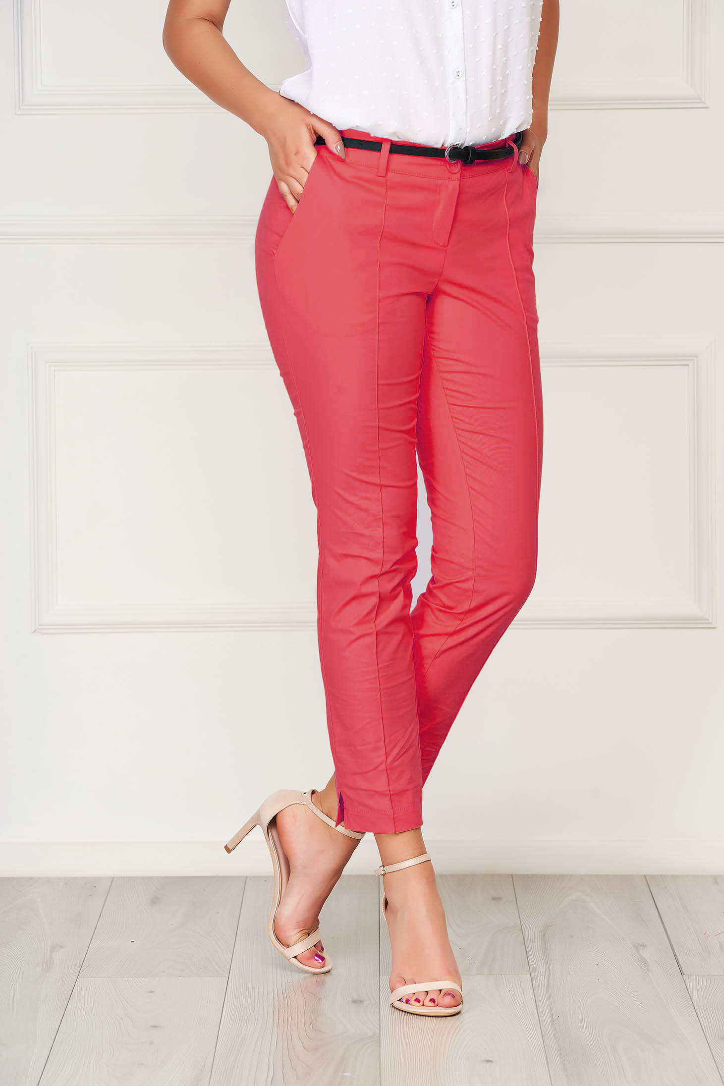 Pink trousers office cotton conical with pockets