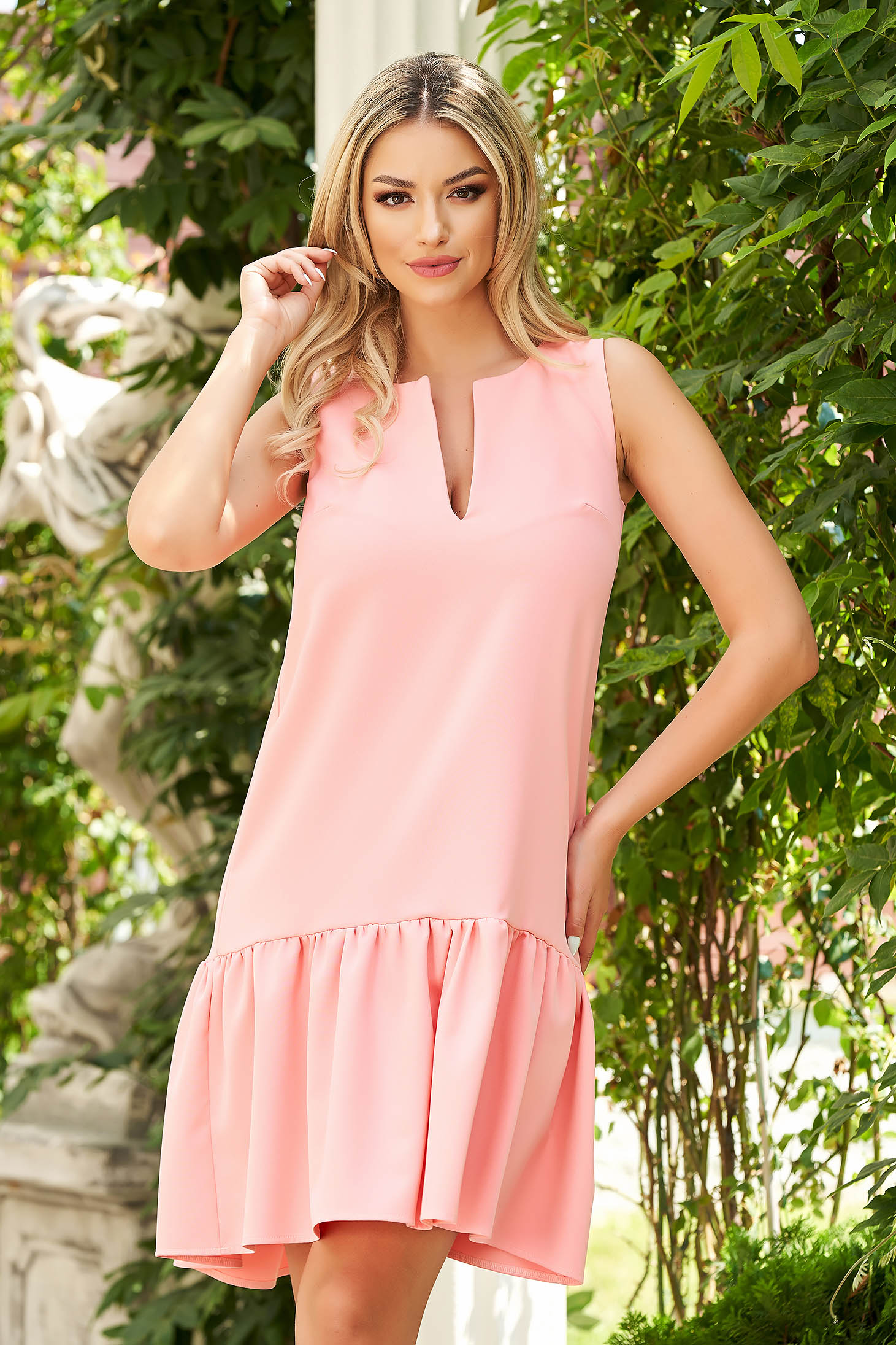 Dress StarShinerS coral daily cloth flared with ruffles at the buttom of the dress midi