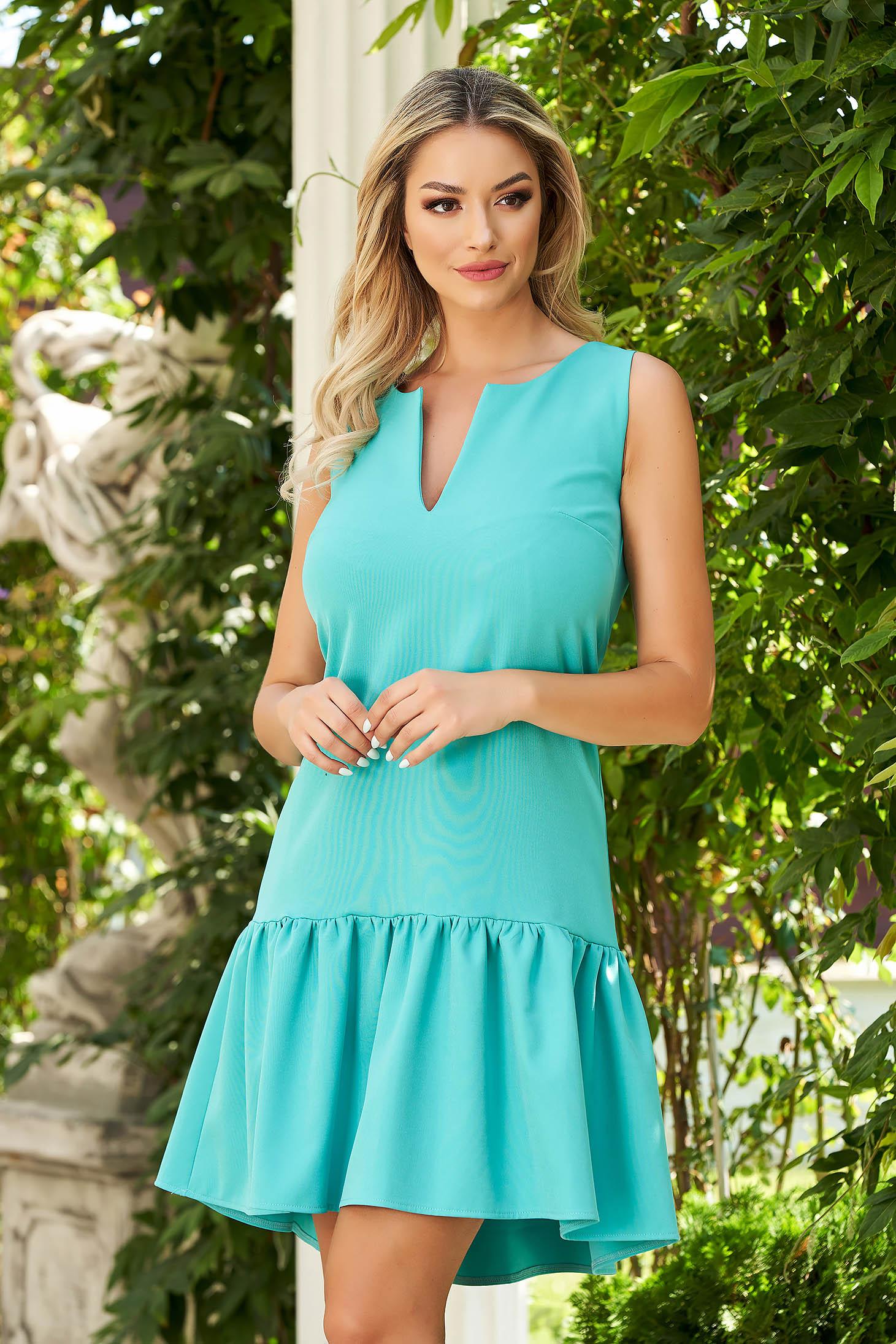 StarShinerS zöld rövid hétköznapi bő szabású ruha szövetből fodrok a ruha alján