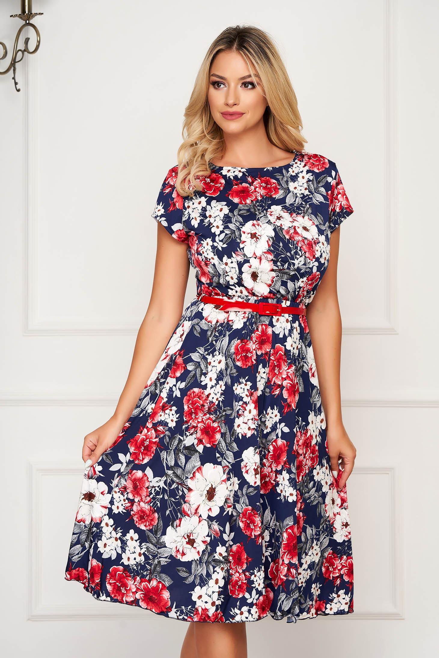 StarShinerS darkblue dress short cut elegant cloche short sleeves accessorized with belt