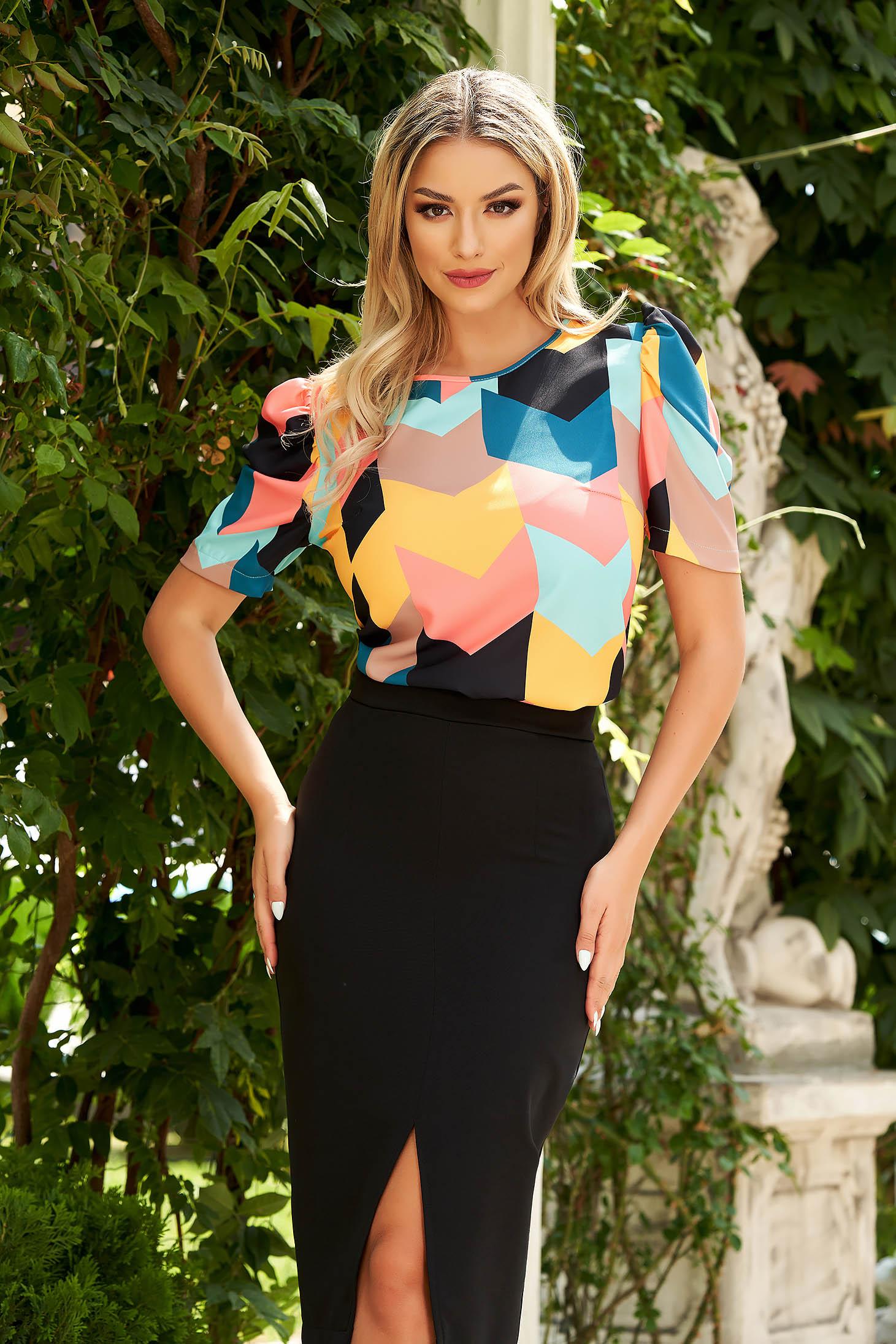 Bluza dama StarShinerS neagra eleganta cu croi larg din material subtire cu maneci scurte