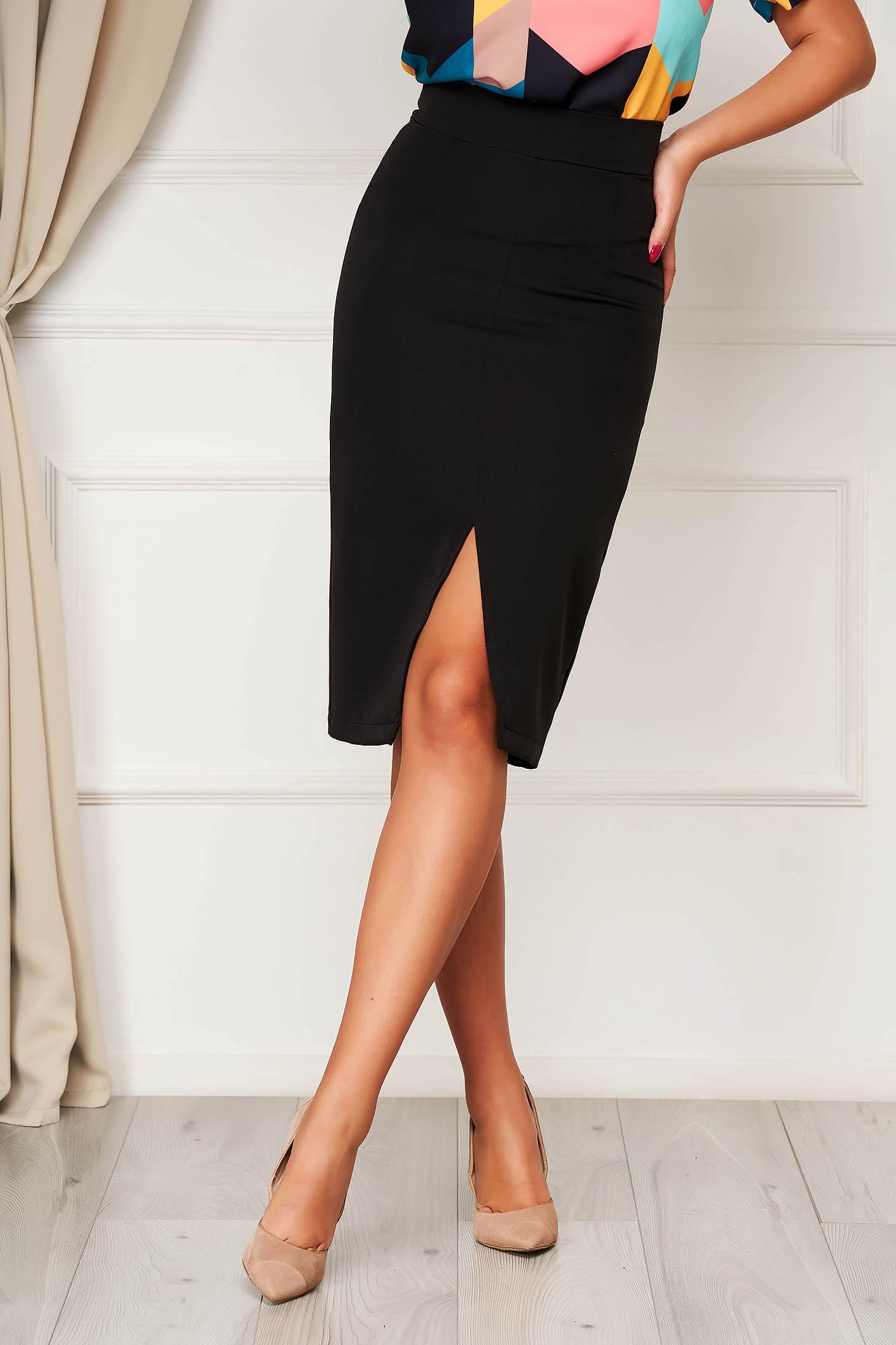 StarShinerS black high waisted pencil skirt midi cloth