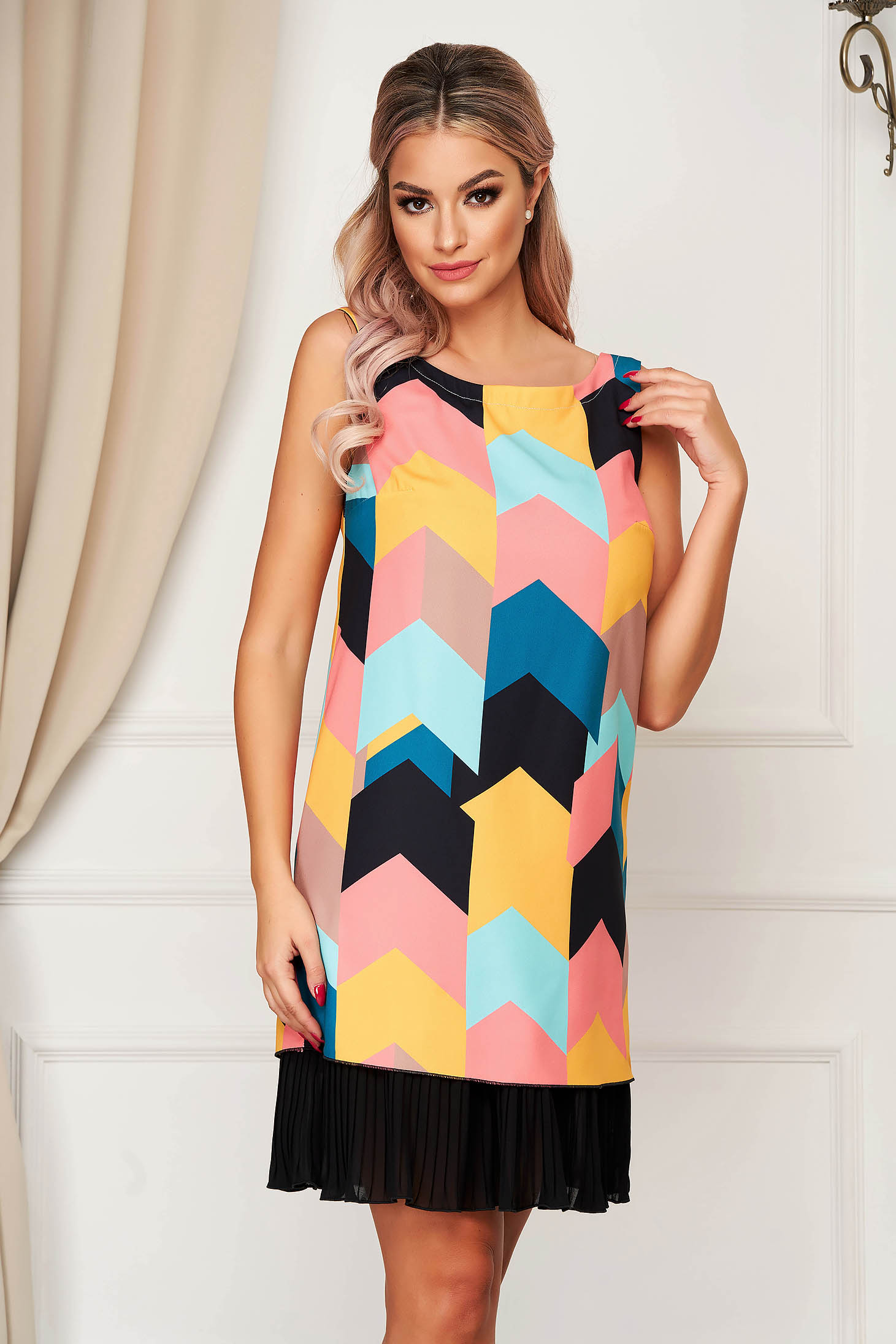 Black elegant short cut dress StarShinerS slightly elastic fabric
