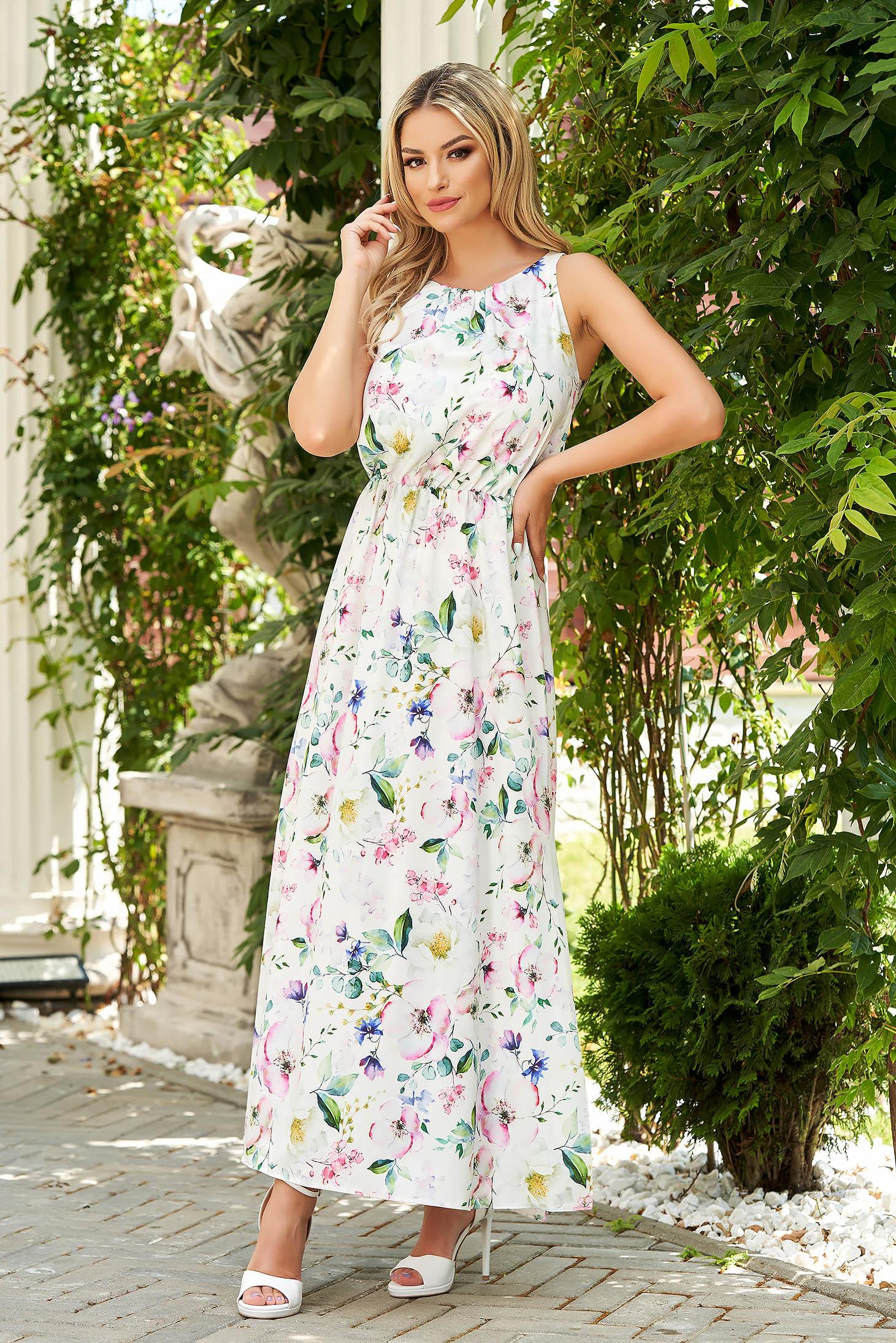 StarShinerS white dress elegant daily cloche with elastic waist airy fabric