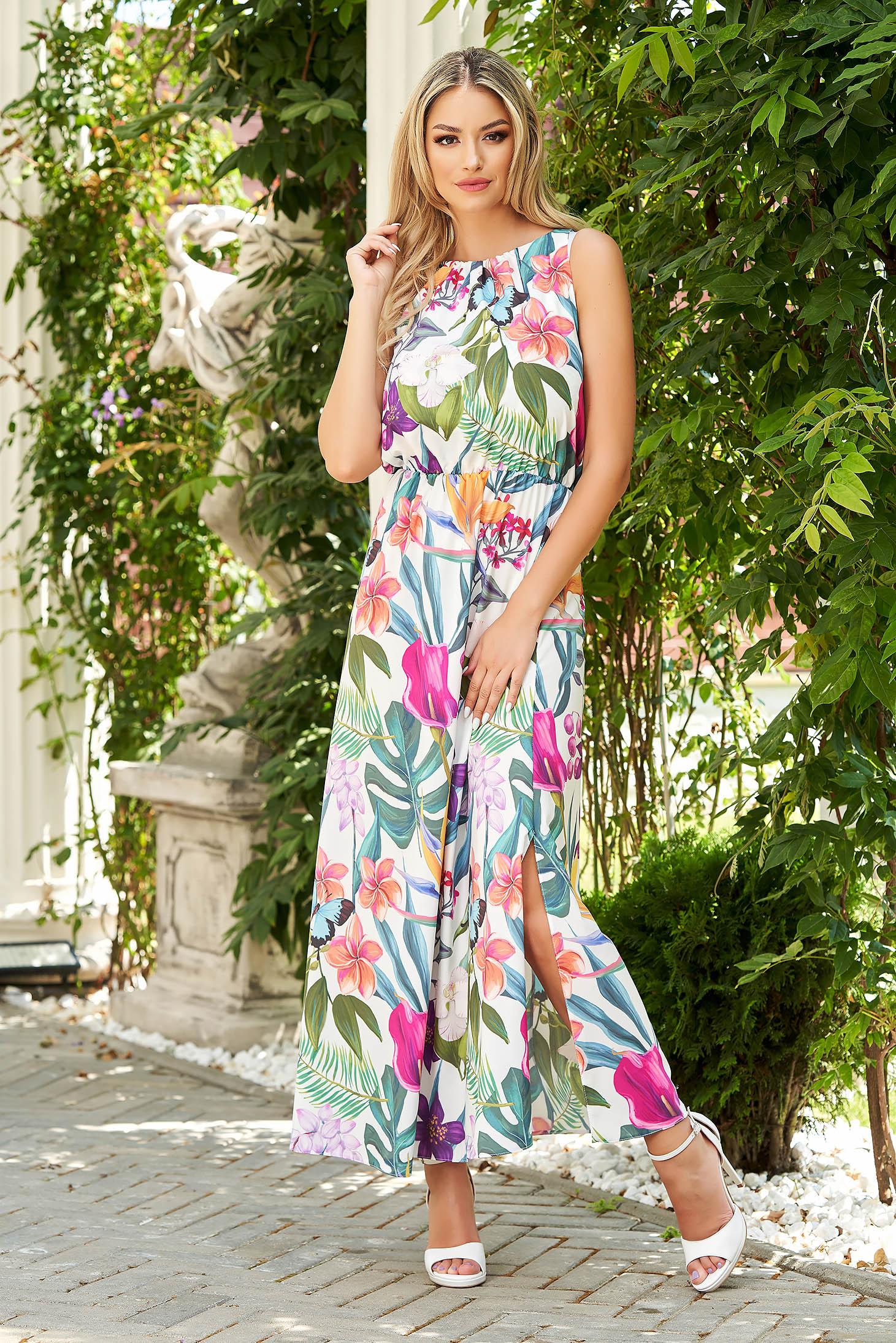 Rochie StarShinerS alba de zi cu elastic in talie din material vaporos cu imprimeu floral