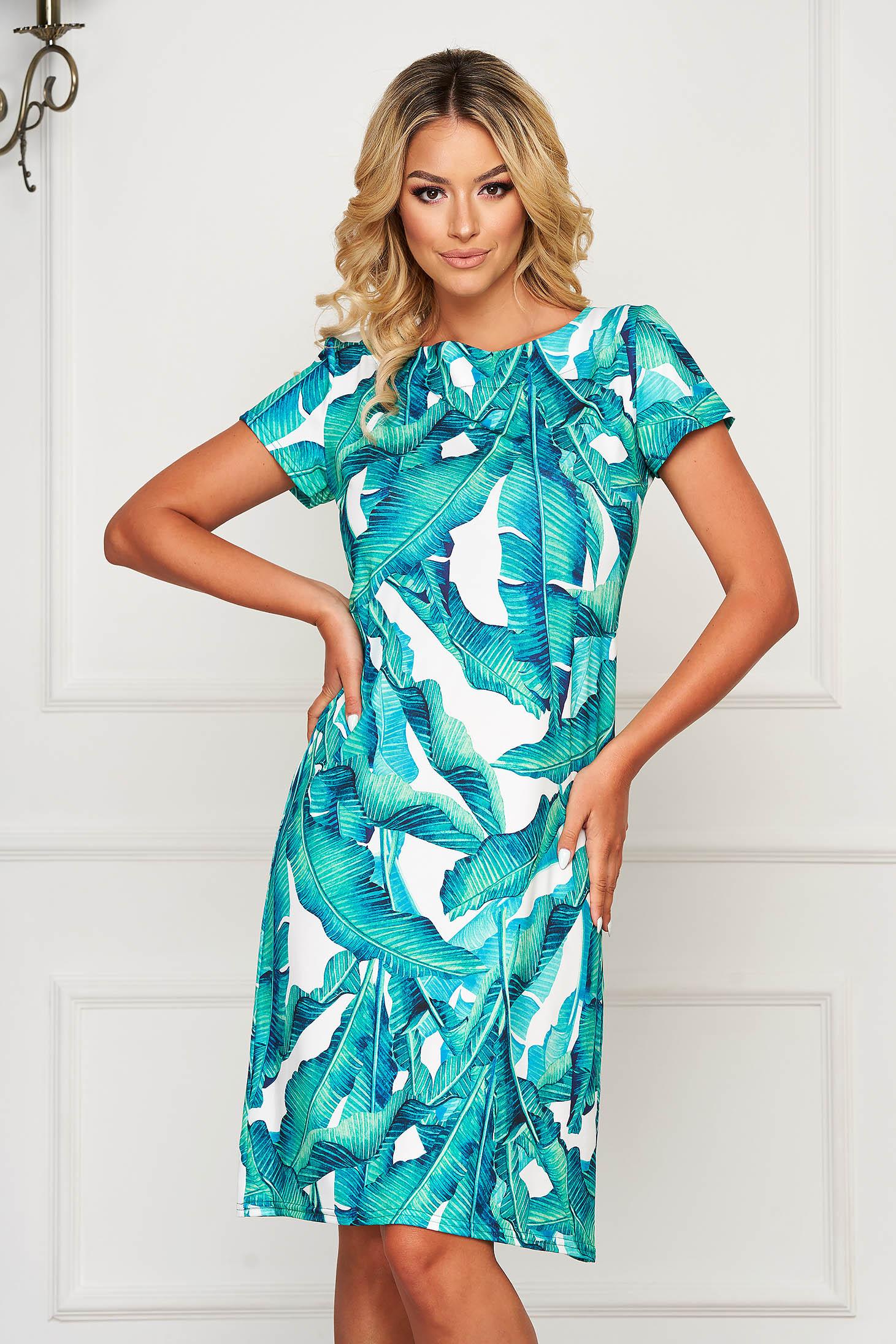 Rochie StarShinerS alba eleganta cu maneci scurte cu imprimeu floral