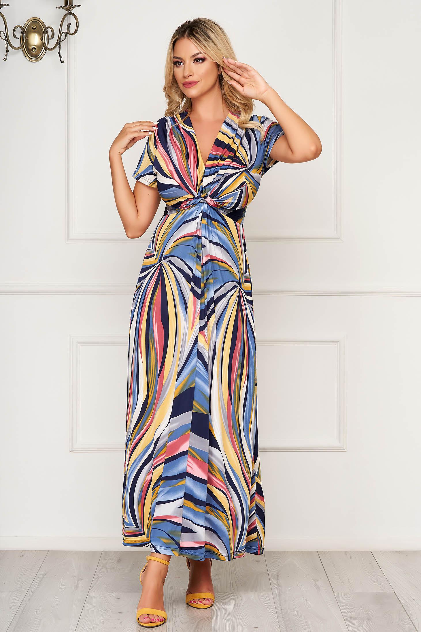 StarShinerS blue dress midi cloche short sleeves with v-neckline
