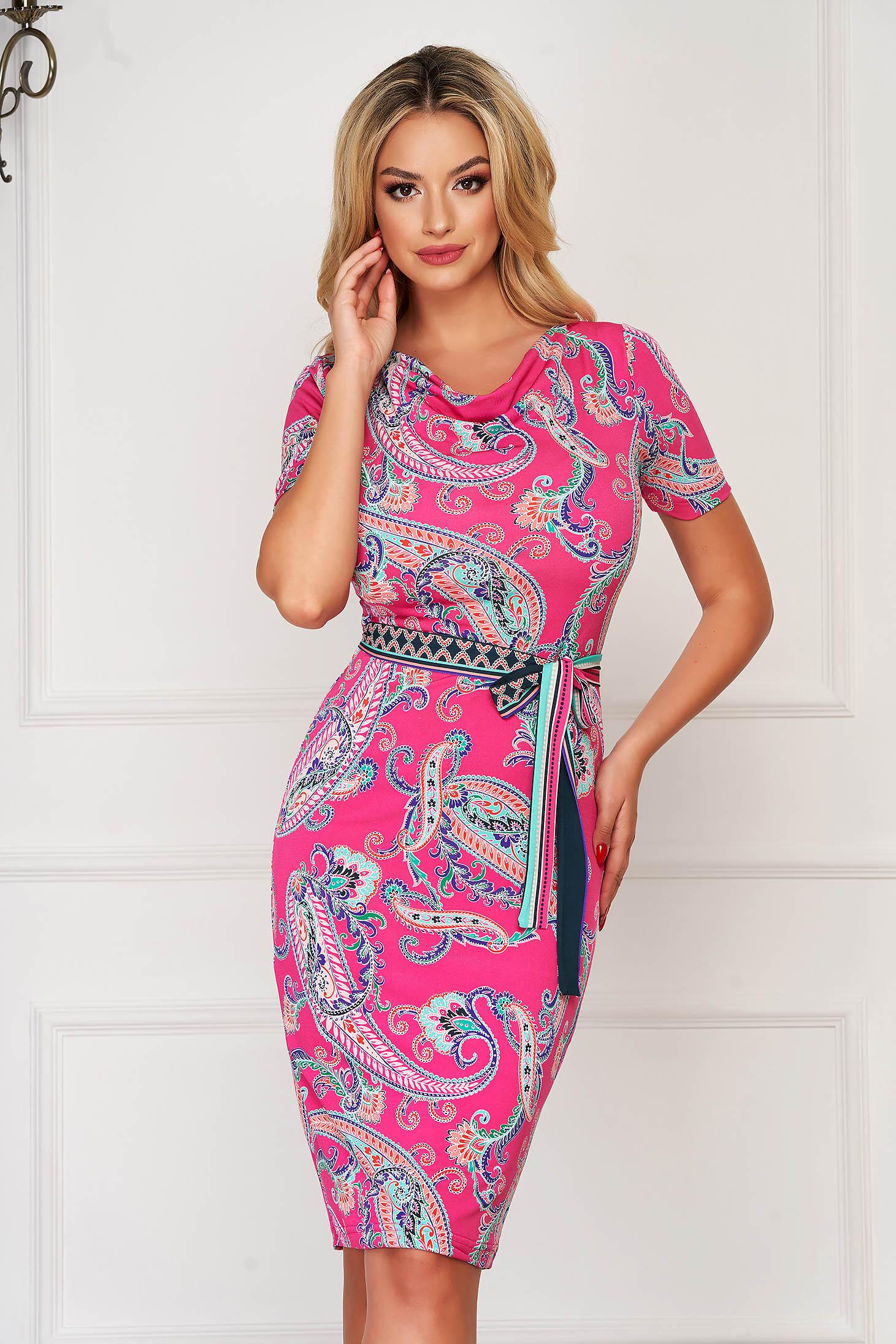 Dress StarShinerS pink elegant midi pencil lycra short sleeves