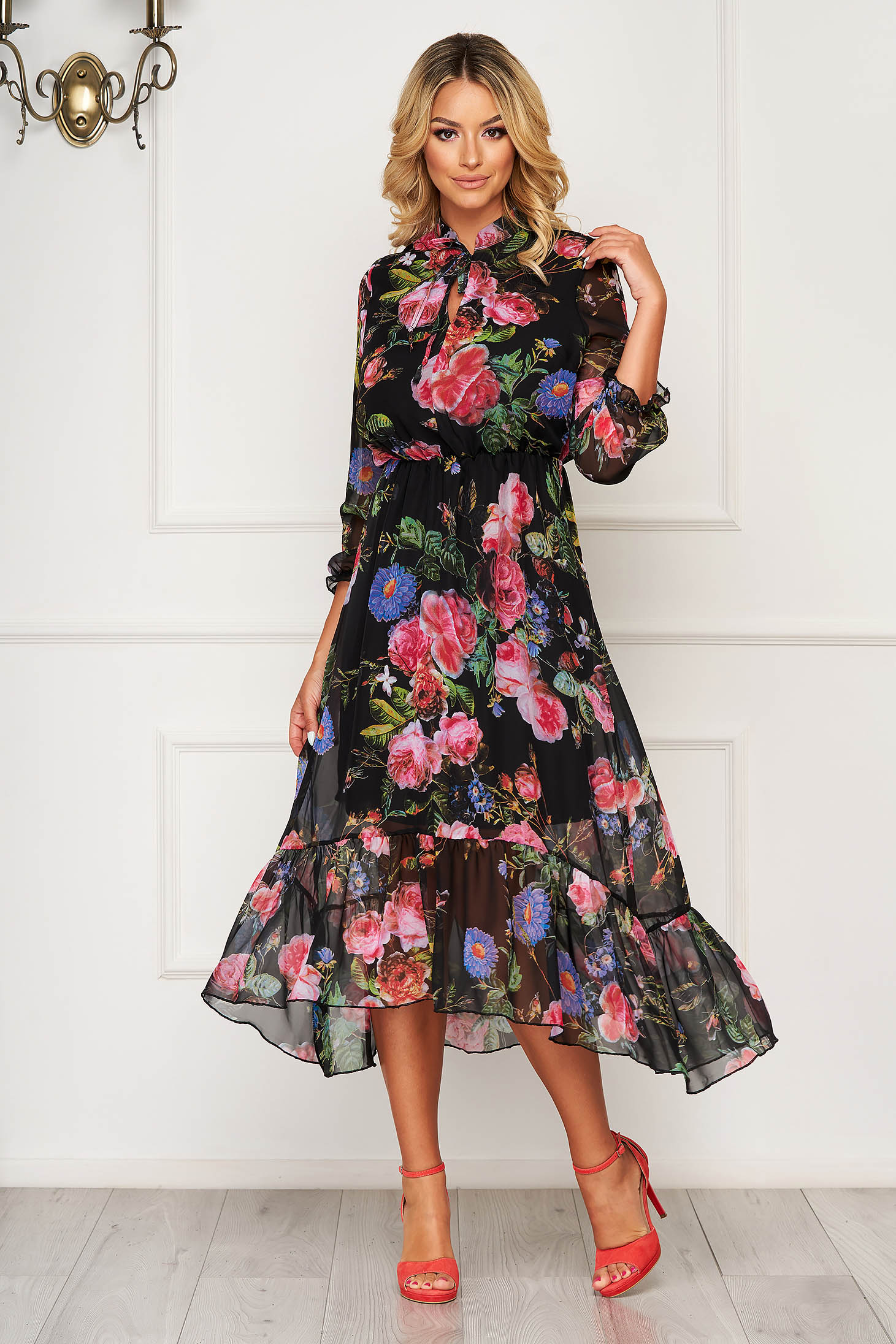 StarShinerS fuchsia elegant asymmetrical dress with floral prints from veil fabric with elastic waist