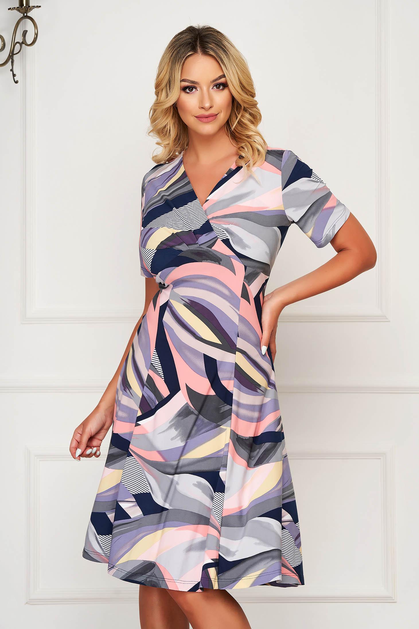 Grey dress daily midi cloche with v-neckline short sleeve
