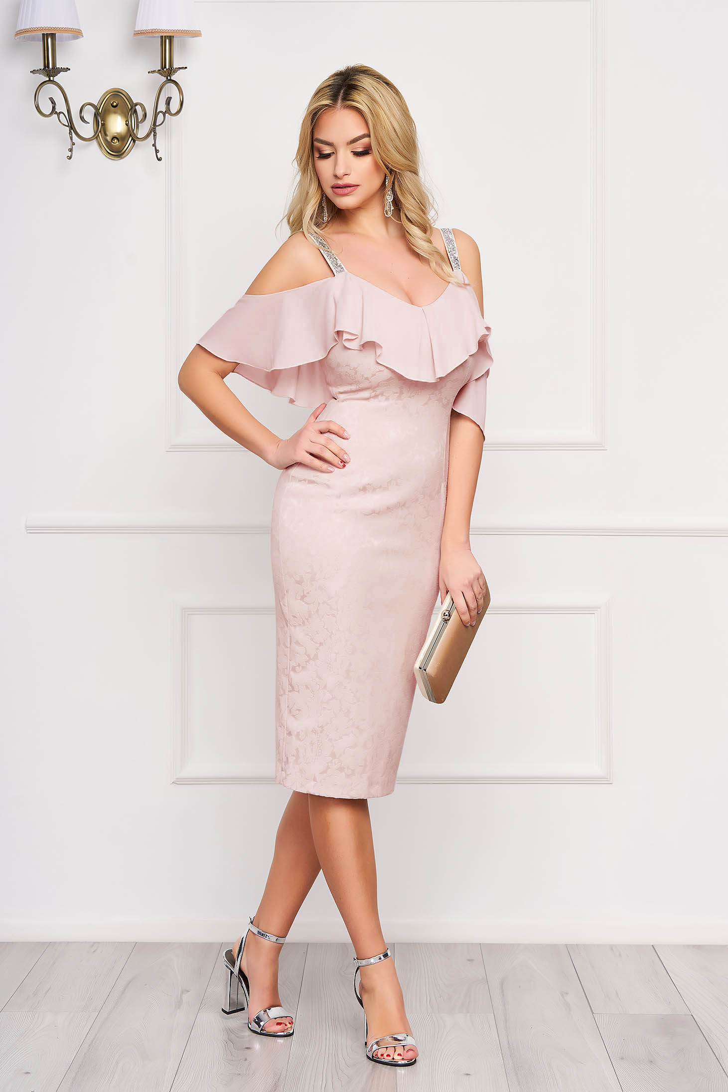 Dress StarShinerS lightpink occasional midi pencil jacquard with ruffle details from veil fabric