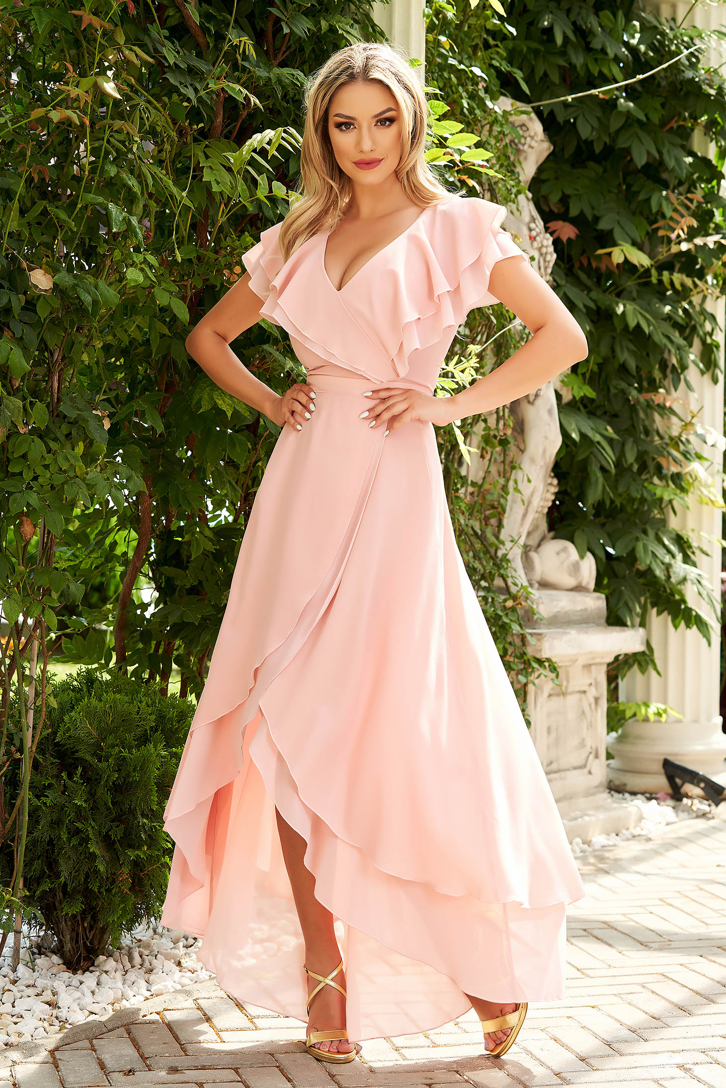 Dress StarShinerS lightpink long asymmetrical occasional cloche from veil fabric with ruffles on the chest