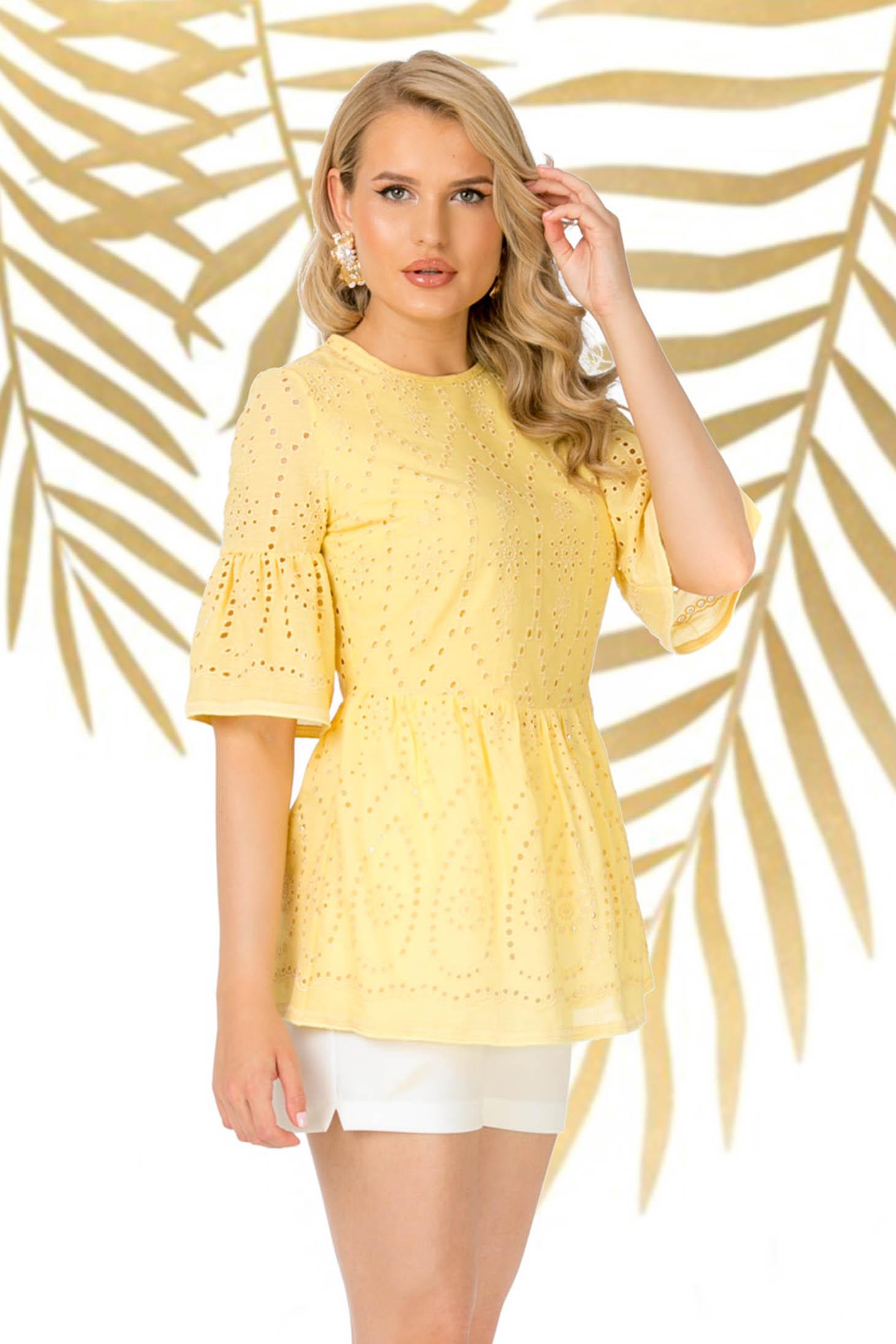 Sárga pamutból készült casual női blúz bővülő ujjakkal derekán fodros