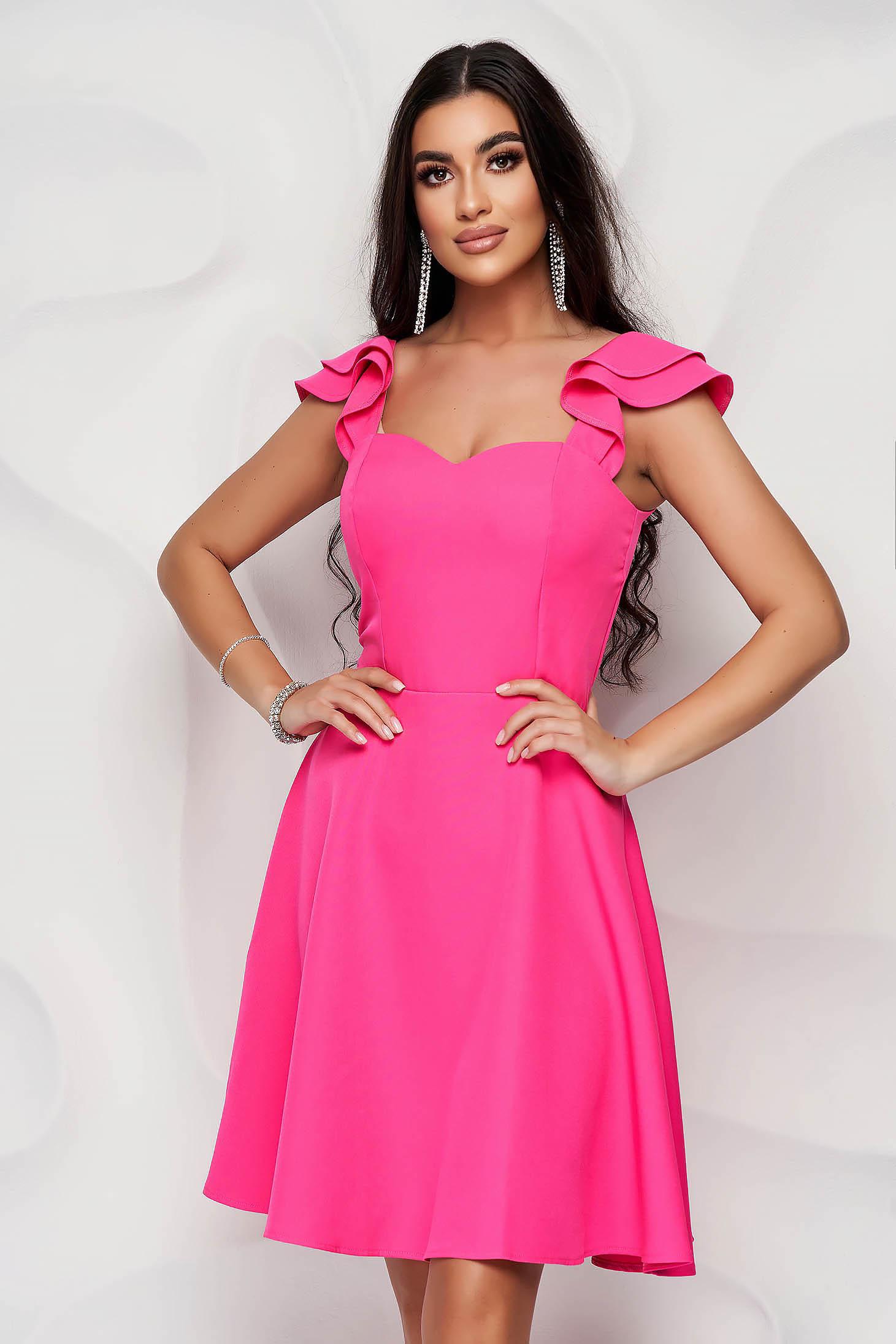 Pink StarShinerS elegáns fodros rövid ruha vékony szövetből