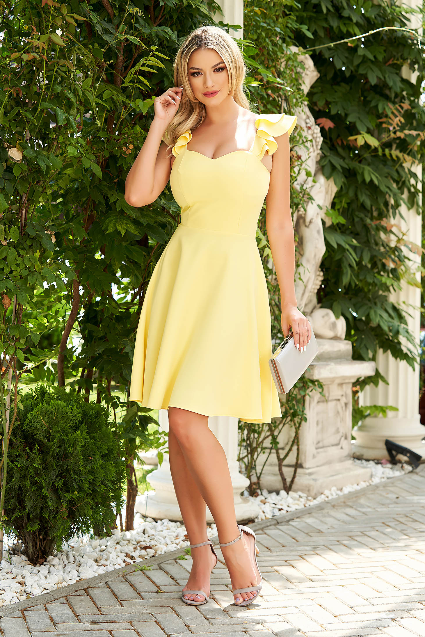 Sárga StarShinerS elegáns fodros rövid ruha vékony szövetből