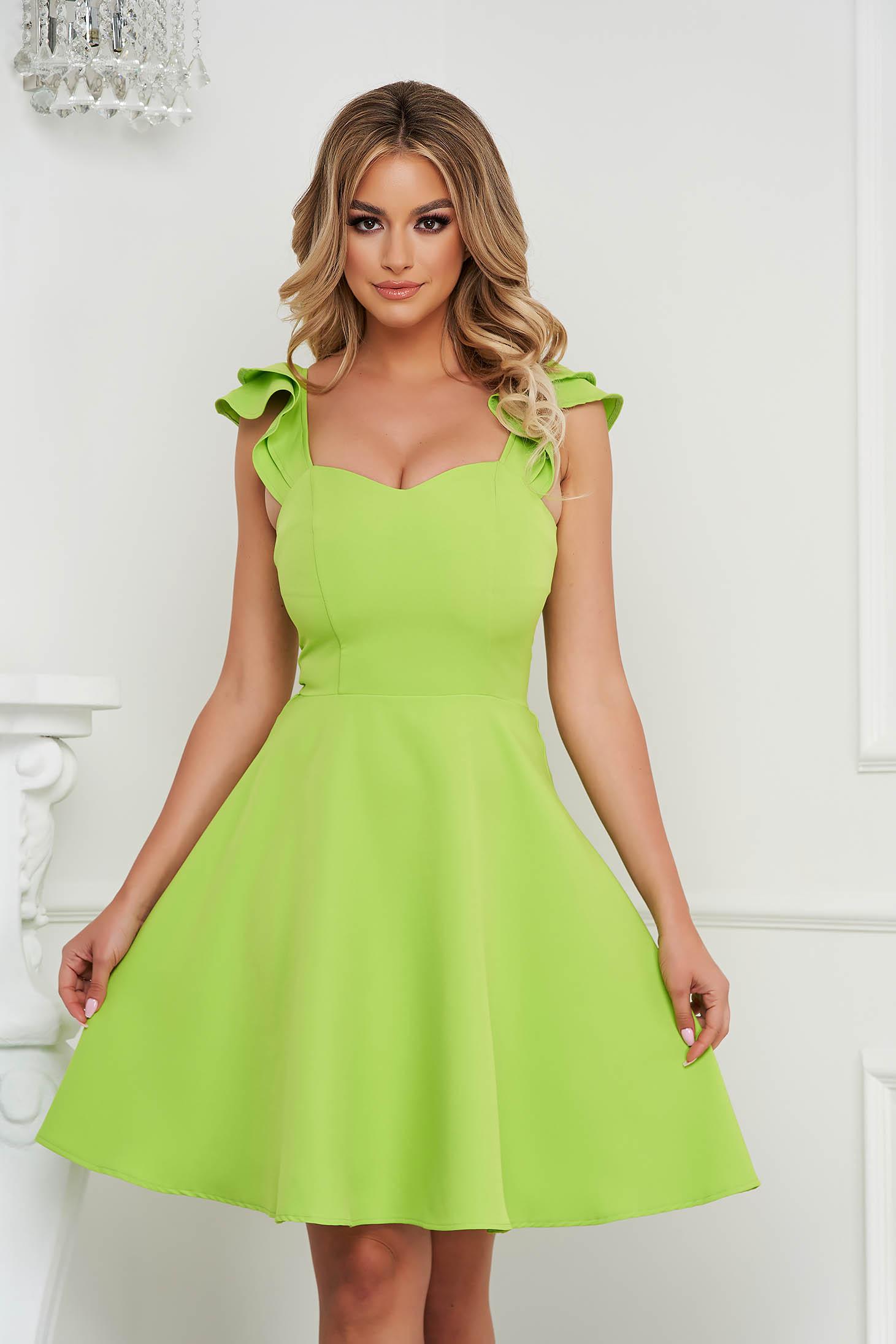 Zöld StarShinerS StarShinerS elegáns fodros rövid ruha vékony szövetből
