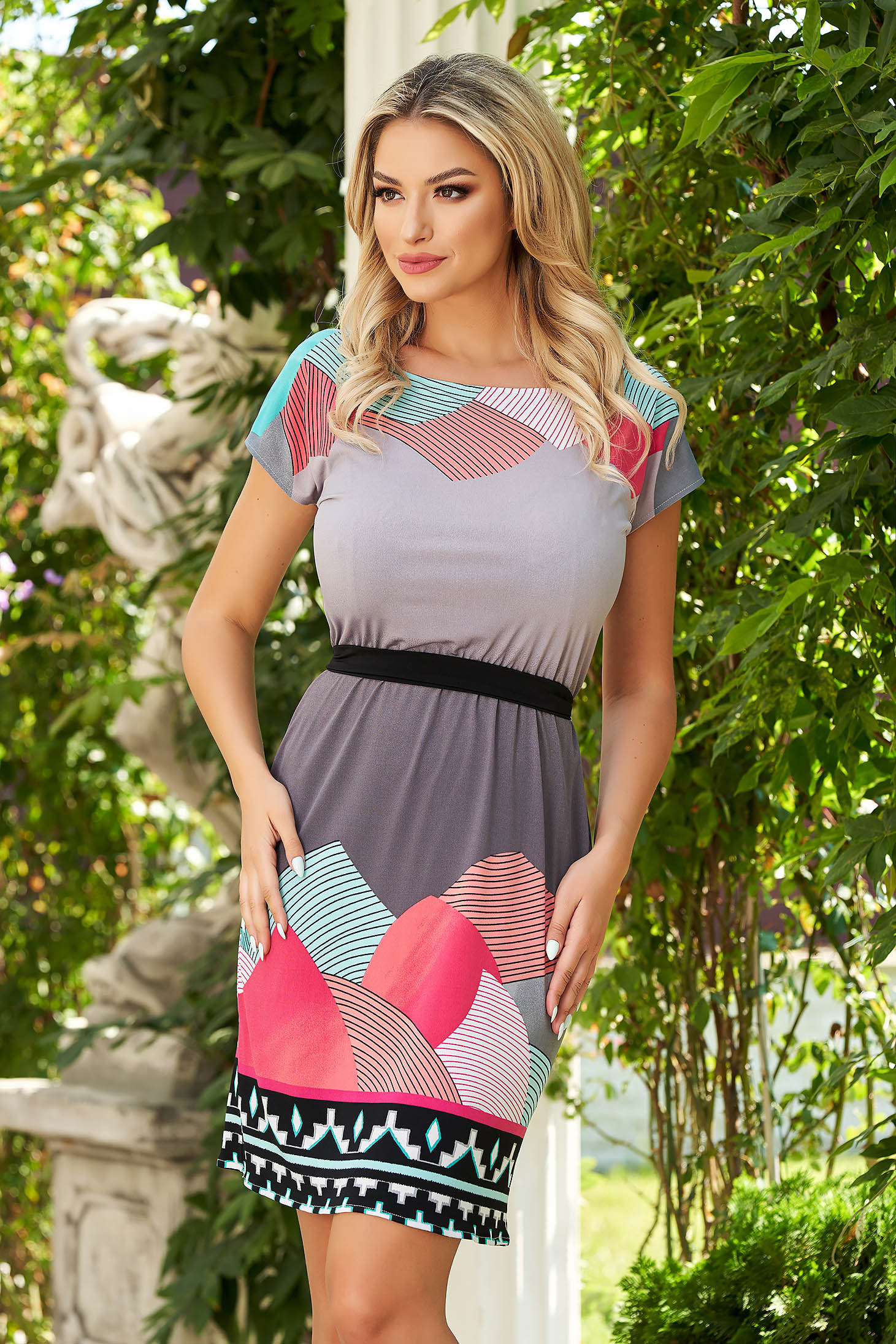 StarShinerS grey dress short cut daily lycra cloche with elastic waist short sleeves