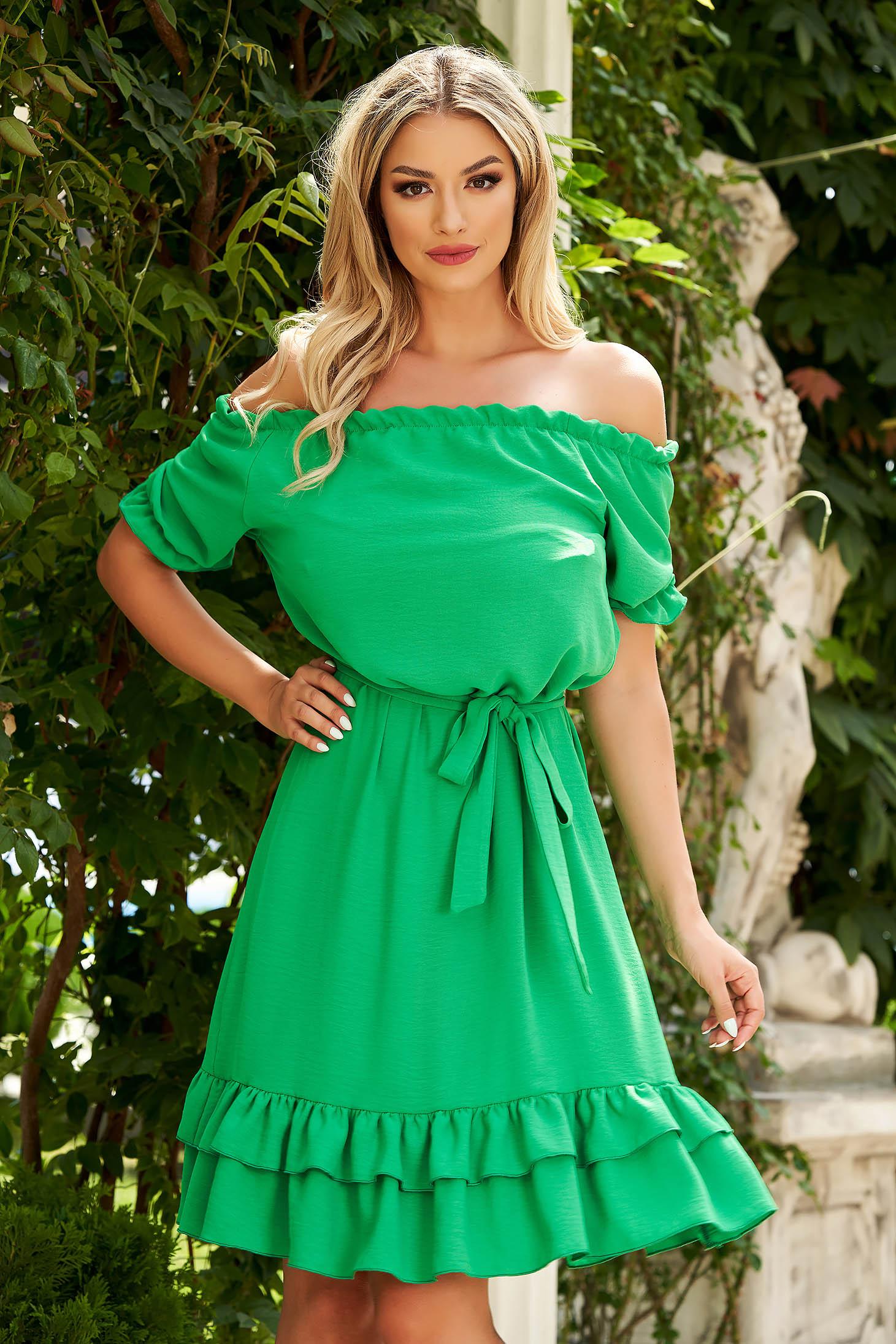Zöld midi hétköznapi bő szabású ruha szellős anyagból váll nélküli