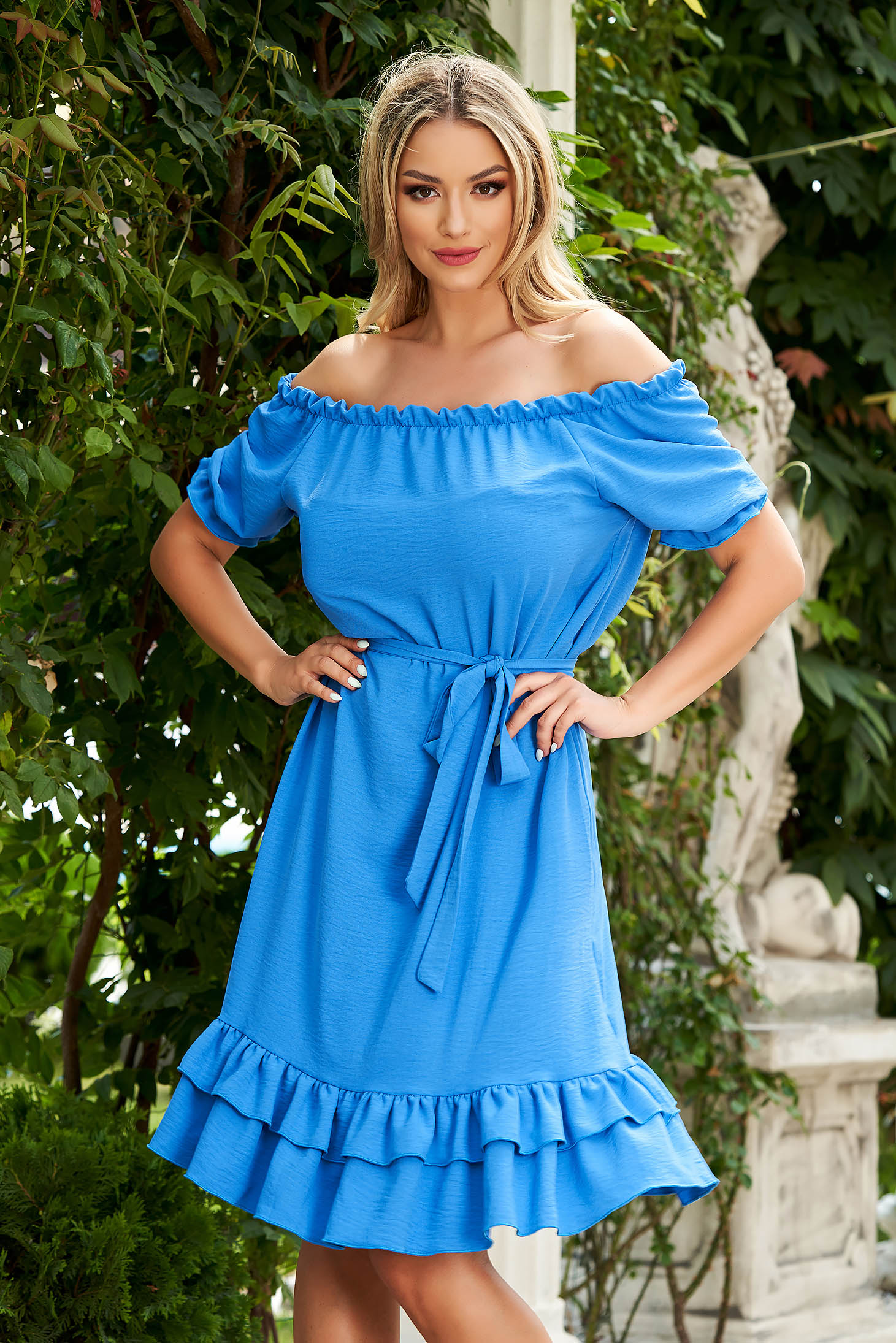 StarShinerS blue dress midi daily flared airy fabric off-shoulder