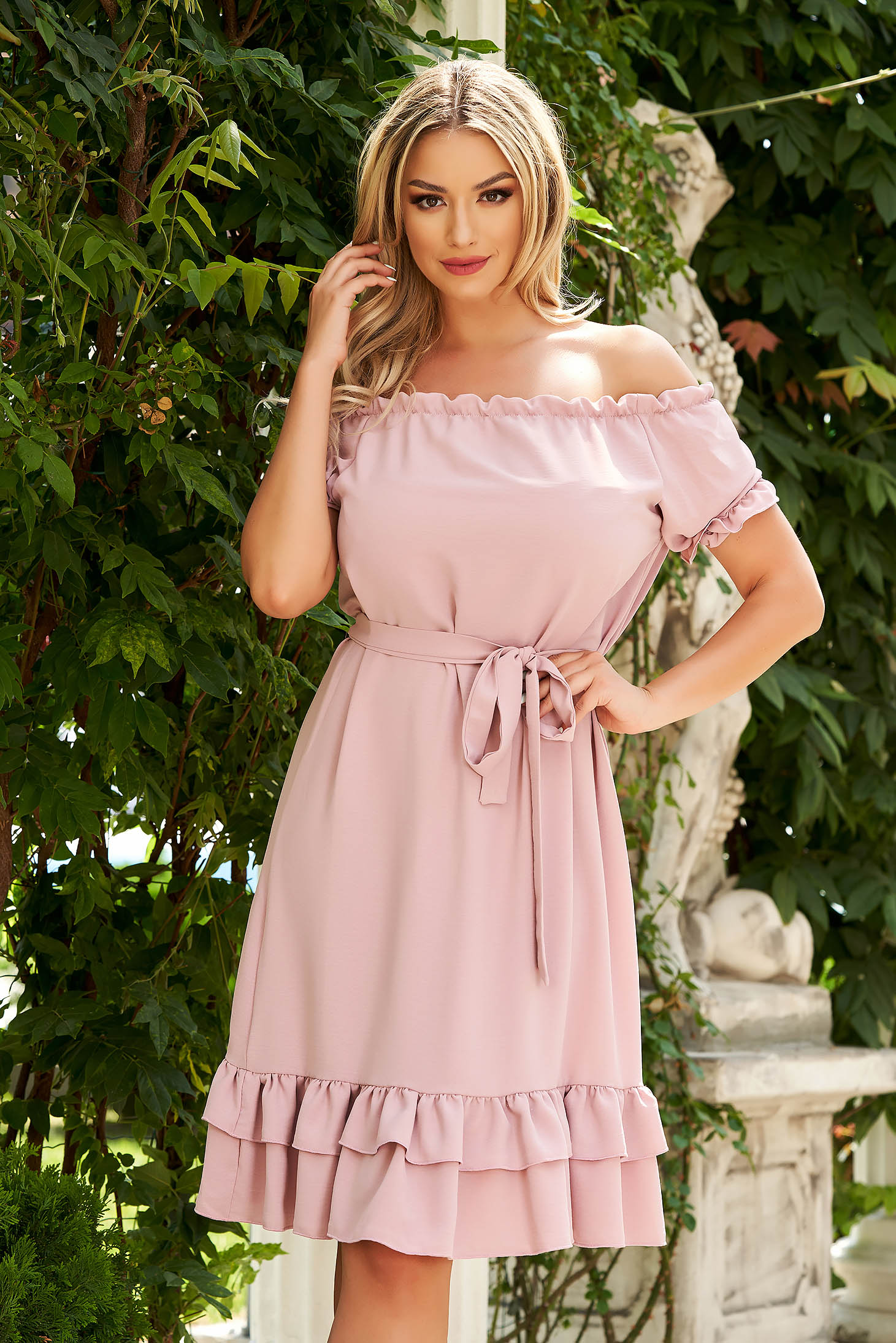 StarShinerS lightpink dress midi daily flared airy fabric off-shoulder