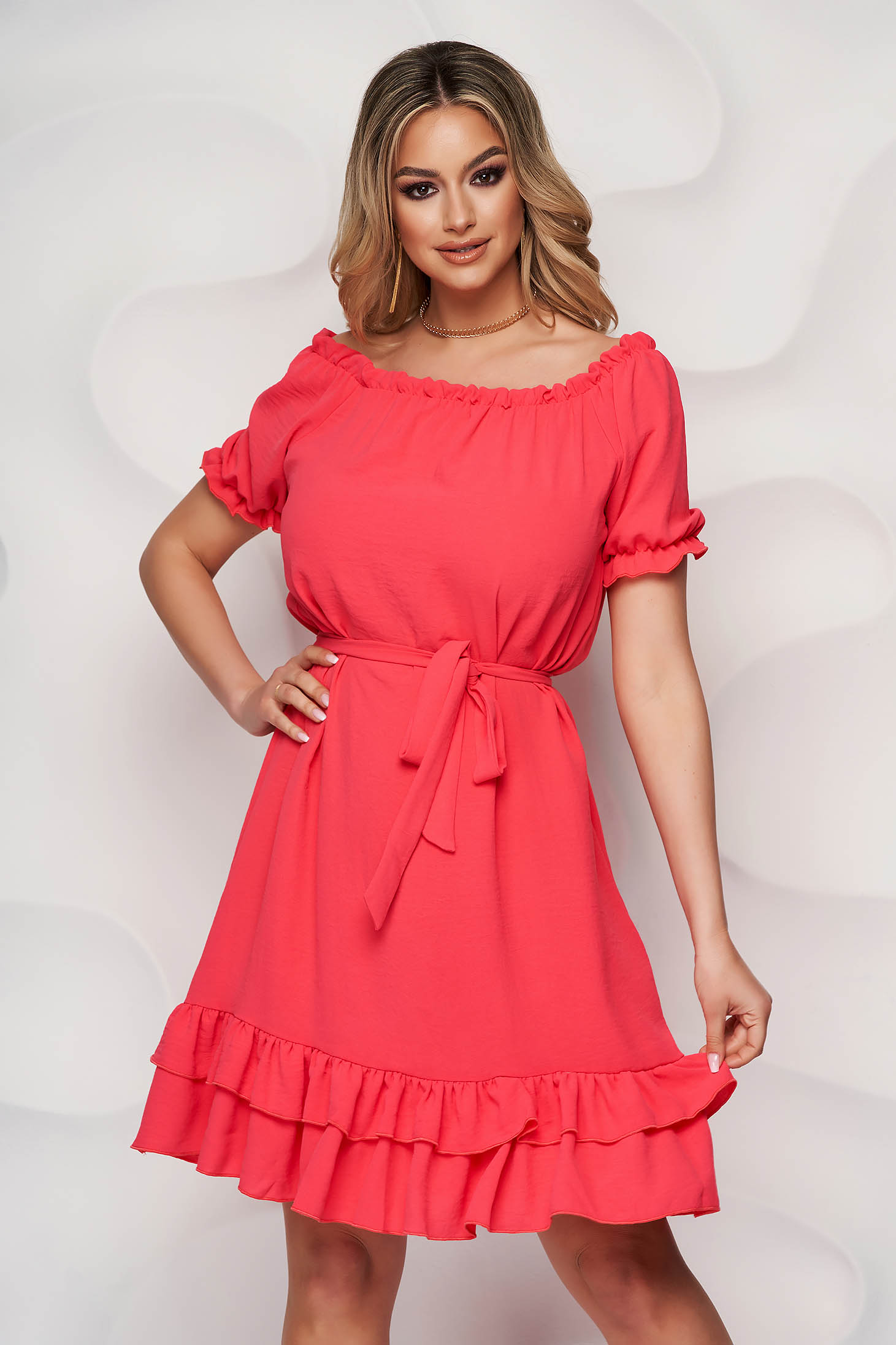 StarShinerS pink dress midi daily flared airy fabric off-shoulder