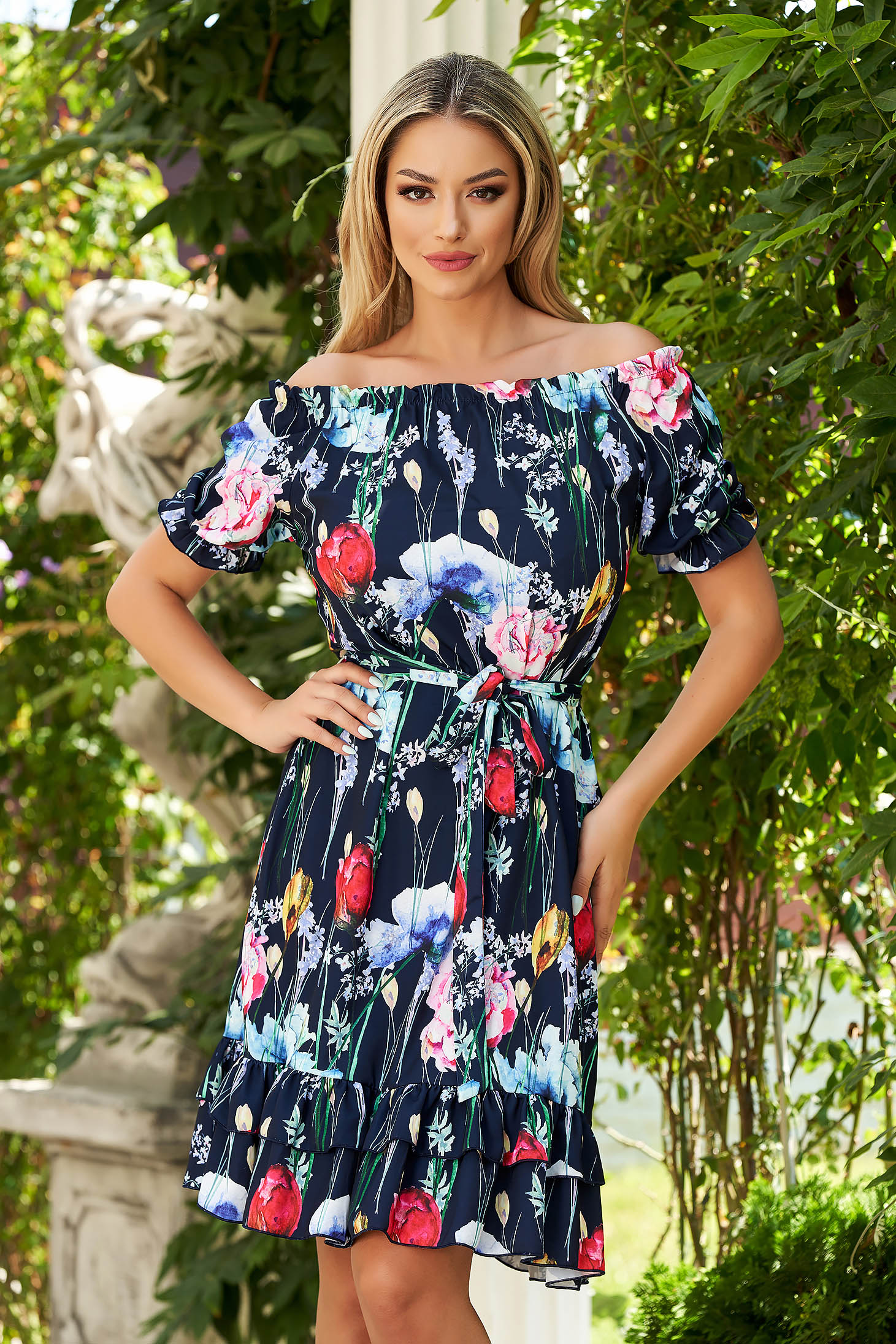 StarShinerS darkblue dress midi daily flared airy fabric off-shoulder