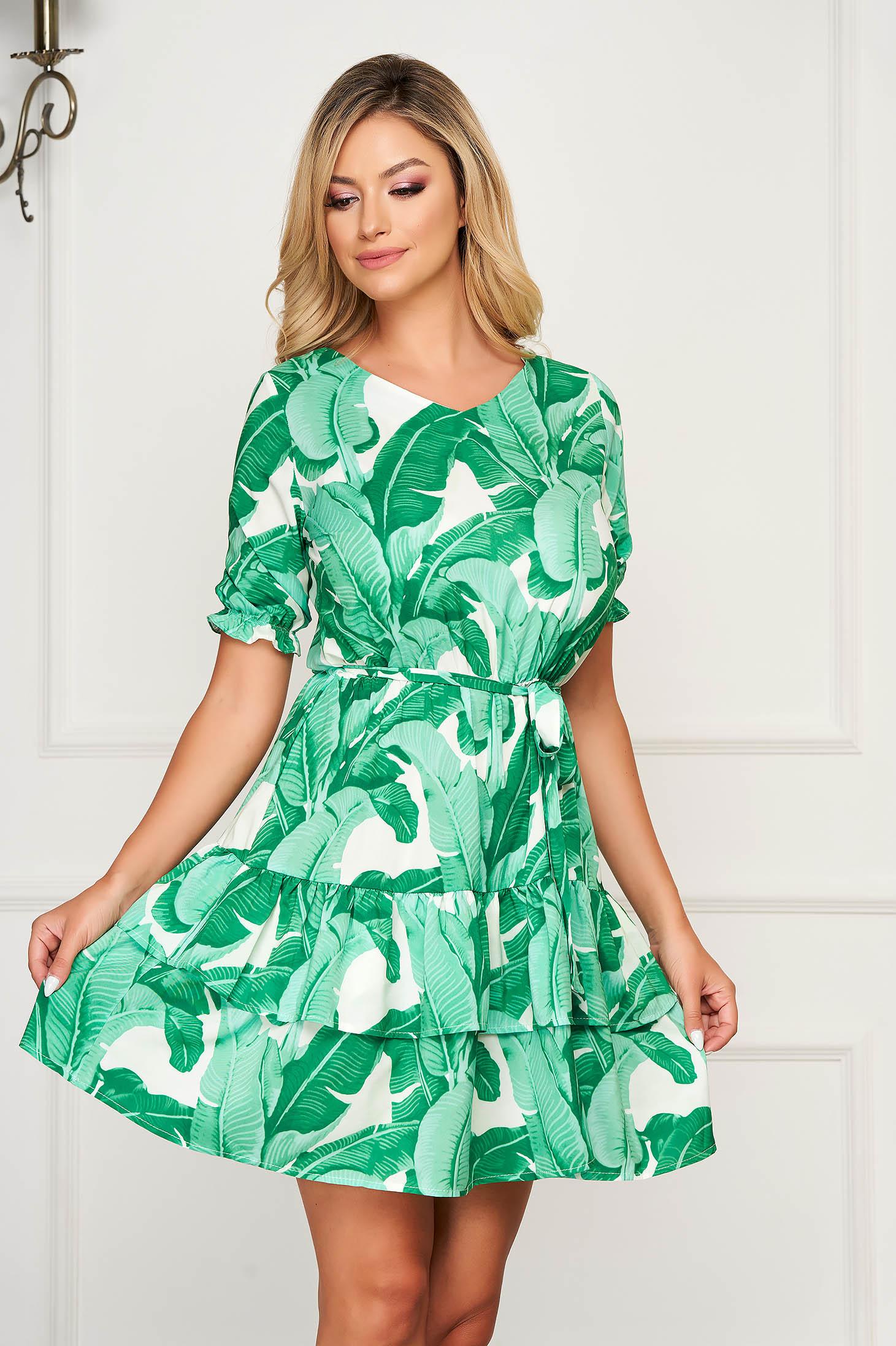 Rochie verde scurta de zi din material vaporos in clos cu maneci scurte