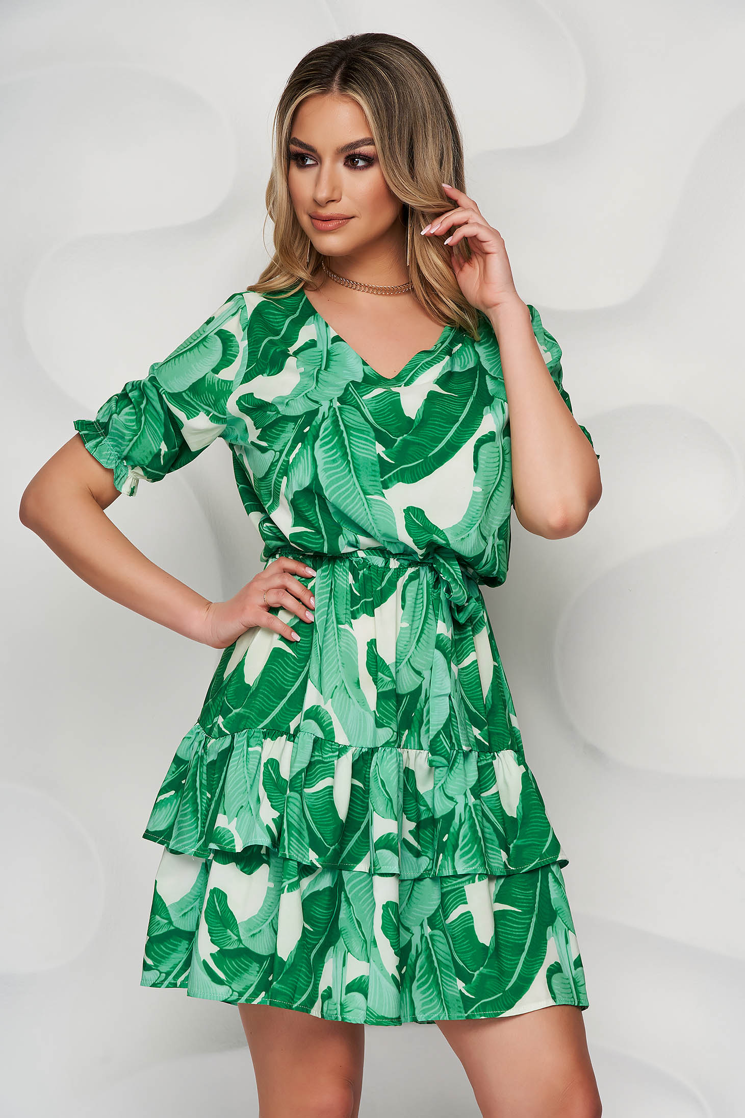 StarShinerS green dress short cut daily airy fabric cloche with elastic waist short sleeves