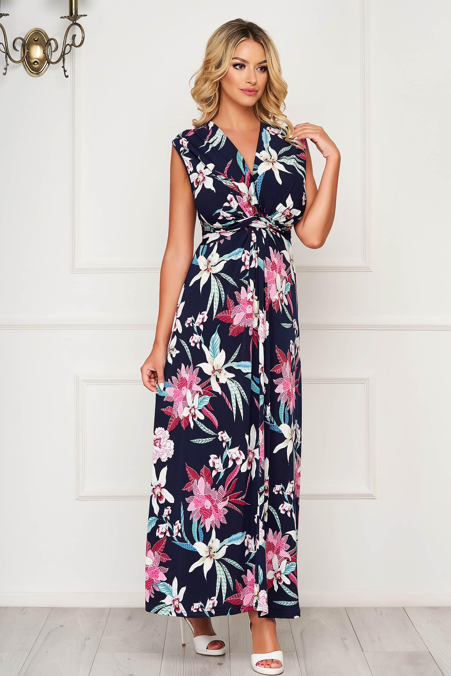 StarShinerS darkblue dress long daily cloche lycra with v-neckline