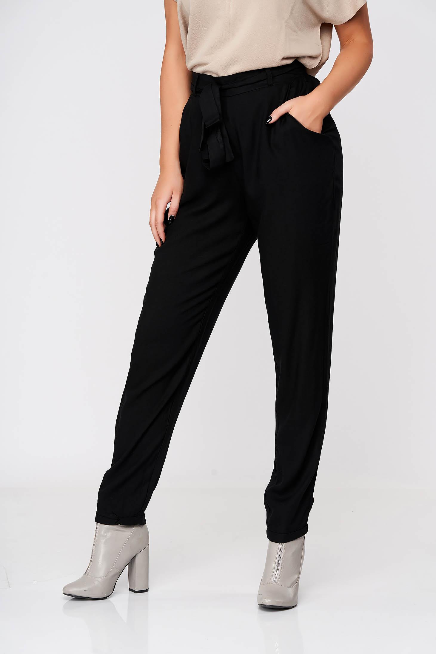 Pantaloni Top Secret negri casual conici din material subtire cu buzunare