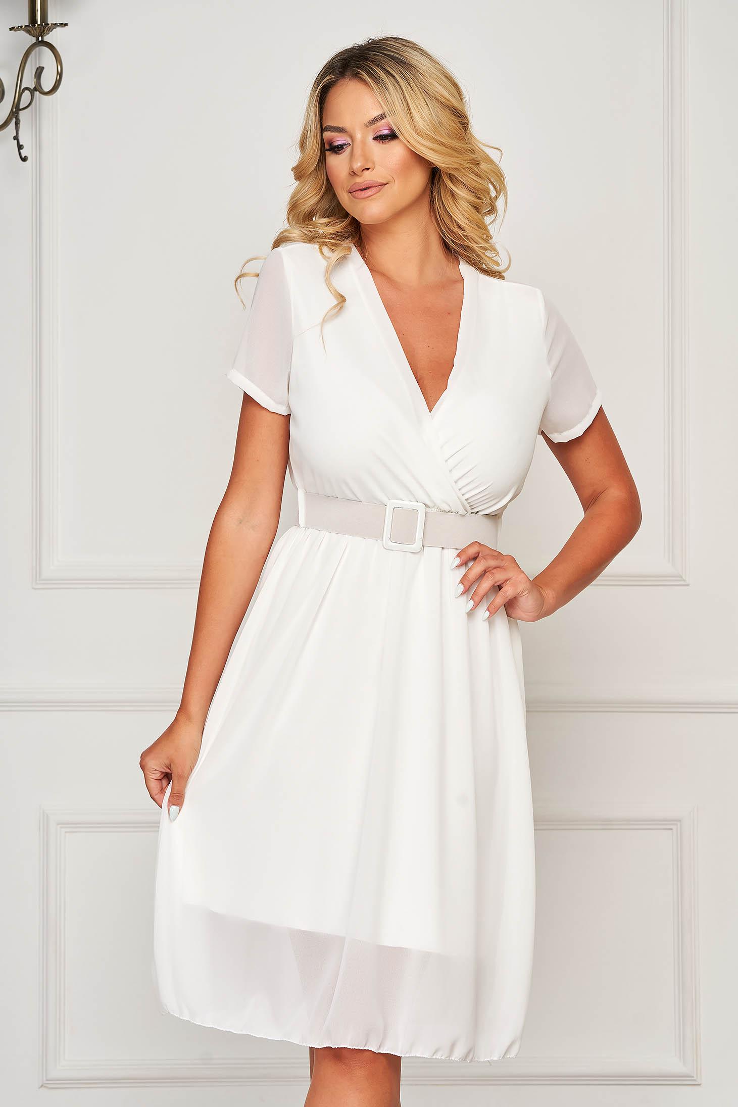 StarShinerS white dress midi daily from veil fabric cloche with elastic waist