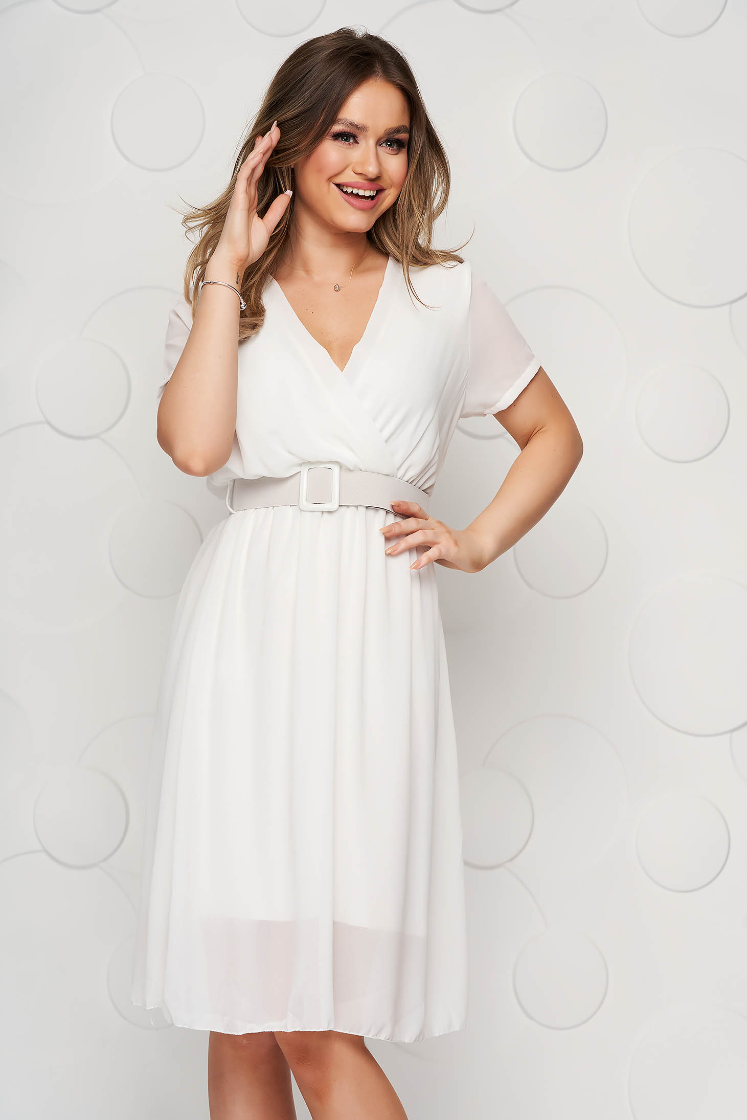 StarShinerS white dress midi from veil fabric cloche with elastic waist