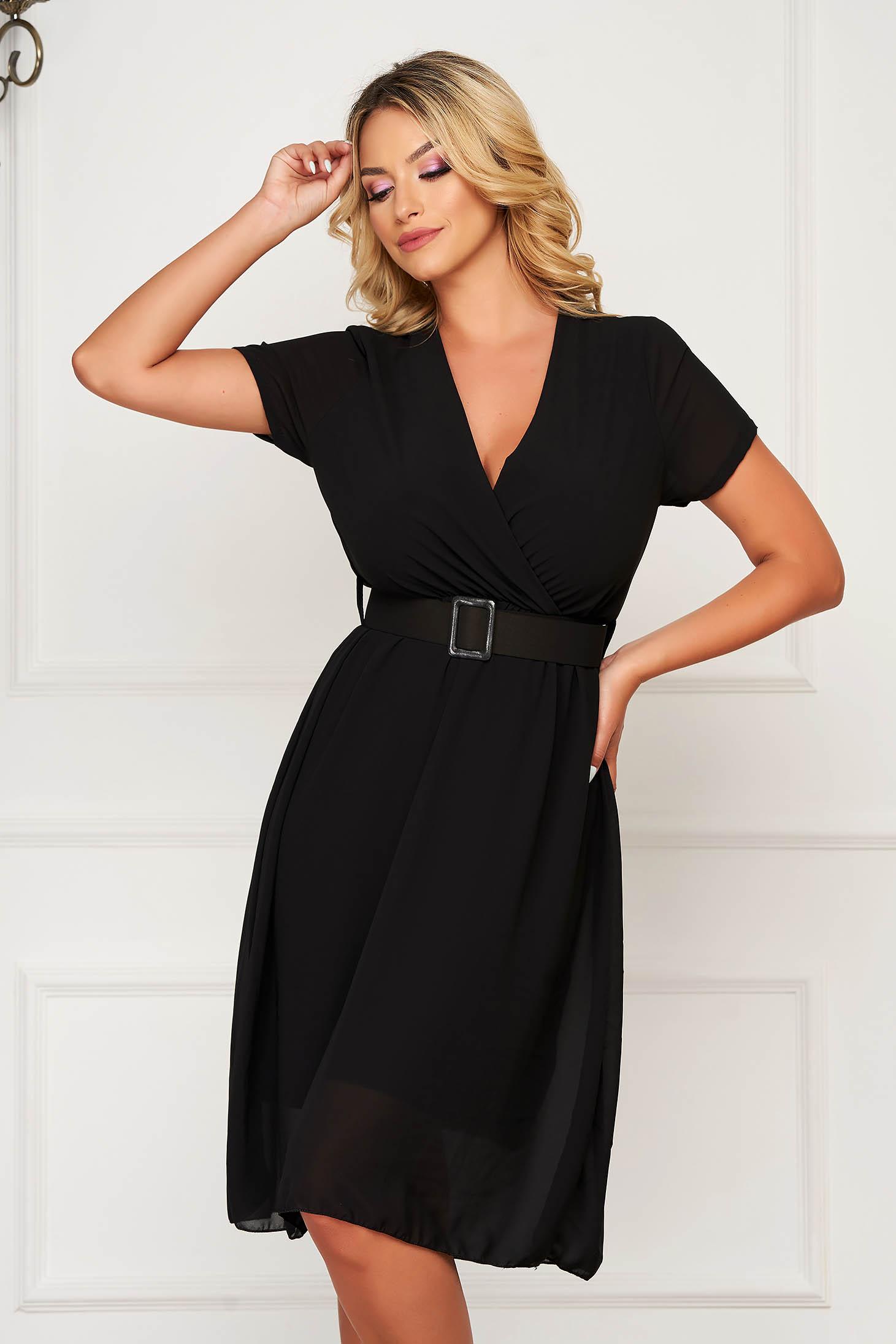 StarShinerS black dress midi daily from veil fabric cloche with elastic waist