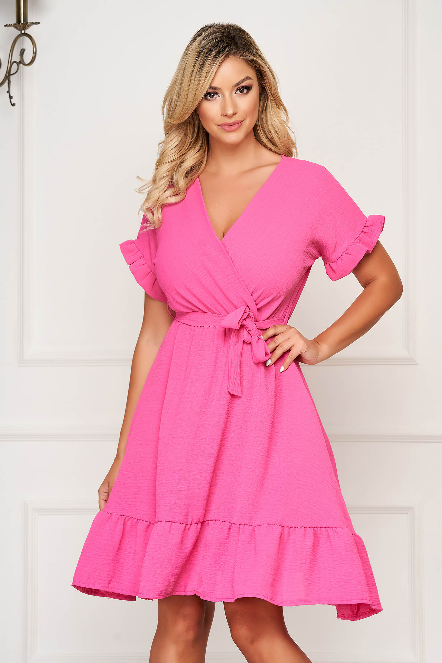 StarShinerS fuchsia dress midi daily thin fabric with ruffle details cloche with elastic waist