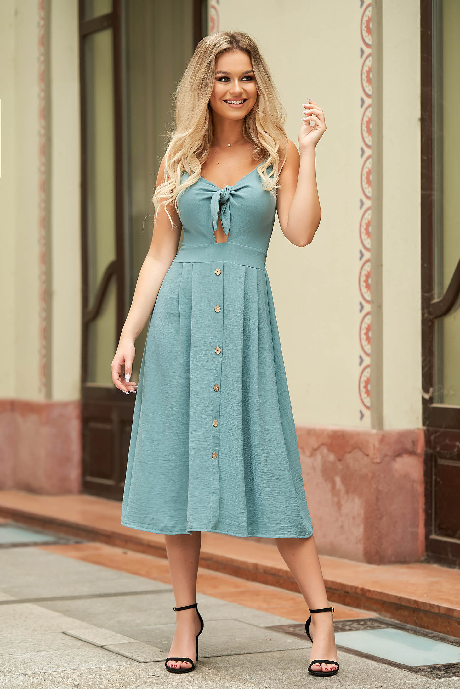 Blue dress midi daily cloche thin fabric cut-out bust design