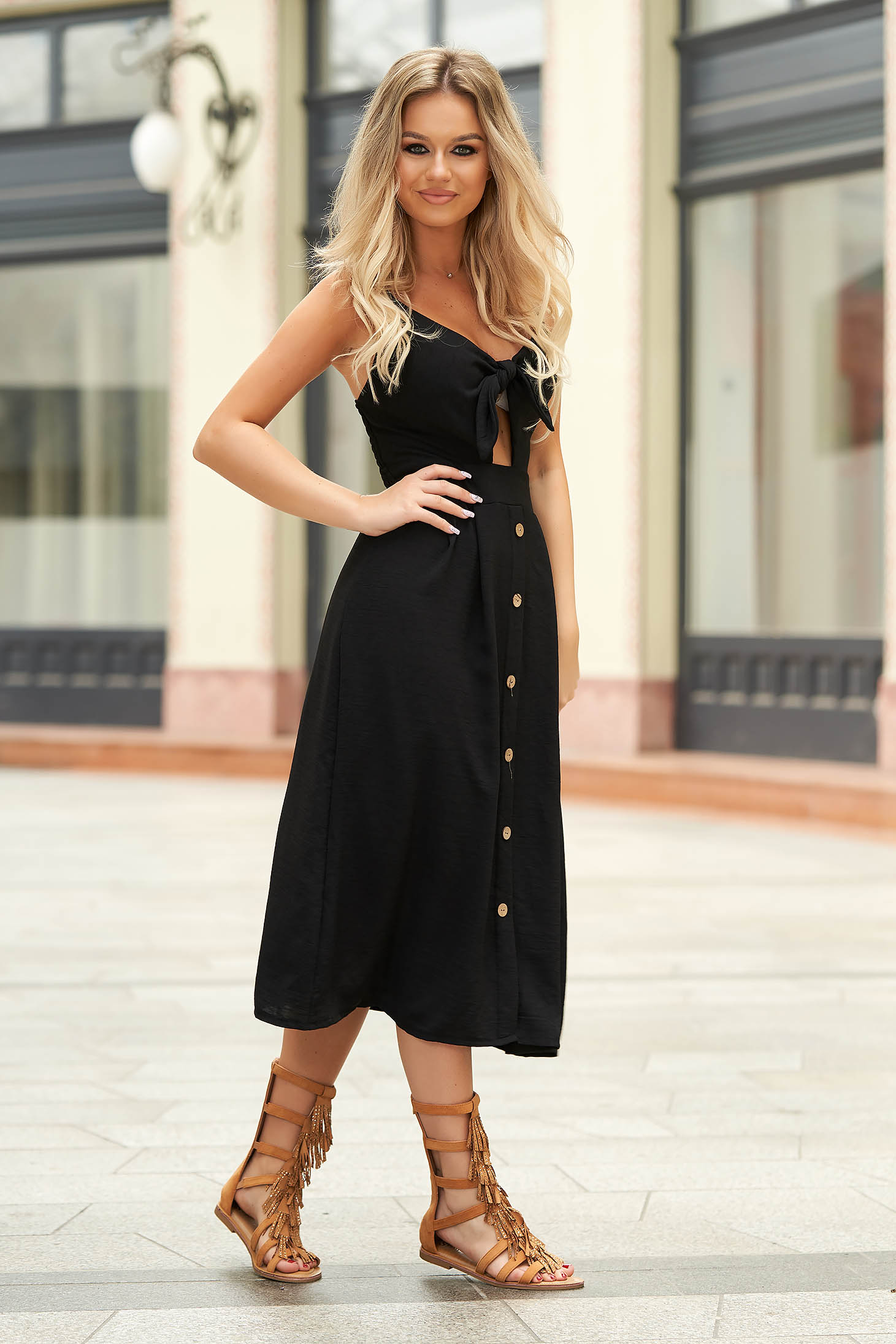 Black dress midi daily cloche thin fabric cut-out bust design