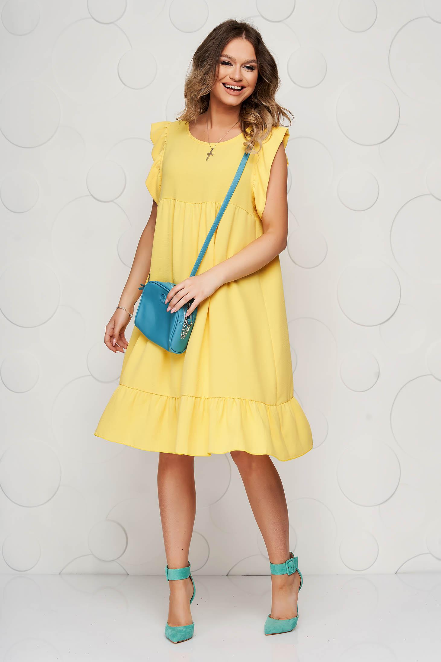 StarShinerS yellow dress midi daily flared thin fabric with ruffle details
