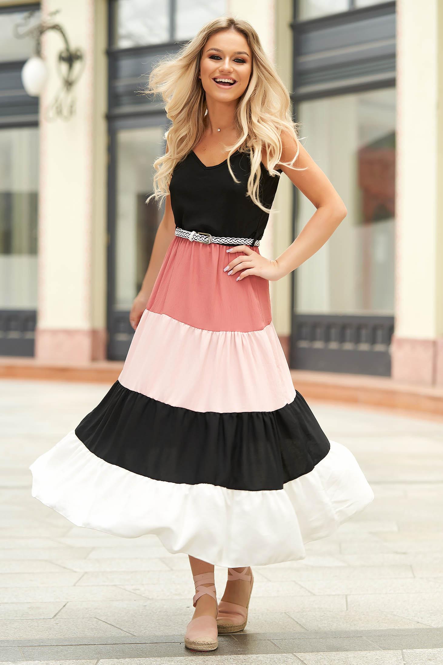 Pink hétköznapi midi ruha v-dekoltázzsal gumírozott derekú öv típusú kiegészítővel