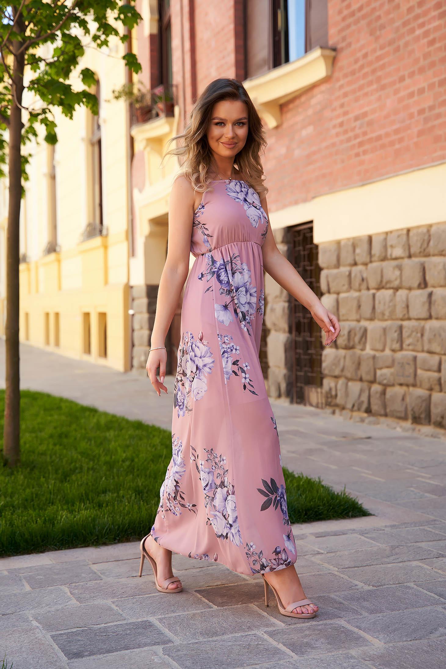 Lightpink dress long daily sleeveless thin fabric cloche with elastic waist
