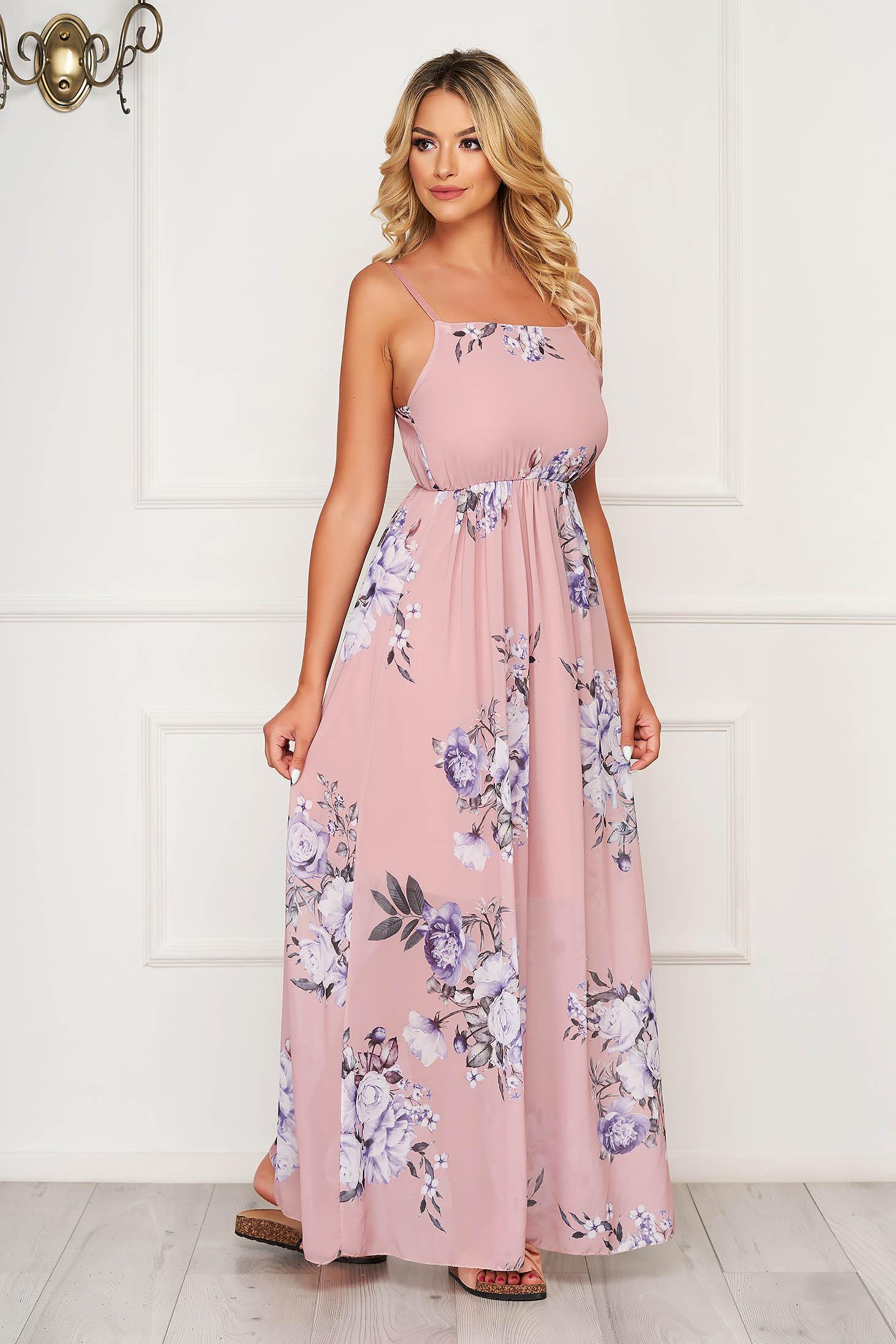 Púder rózsaszínű hétköznapi ujjatlan vékony anyagból hosszú ruha harang alakú gumirozott derékrésszel