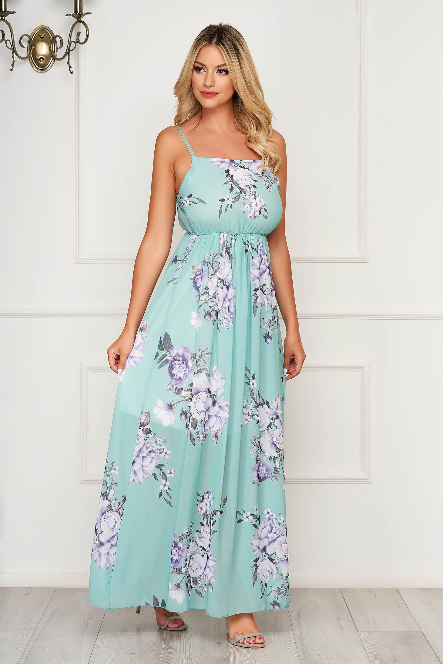 Lightgreen dress long daily sleeveless thin fabric cloche with elastic waist