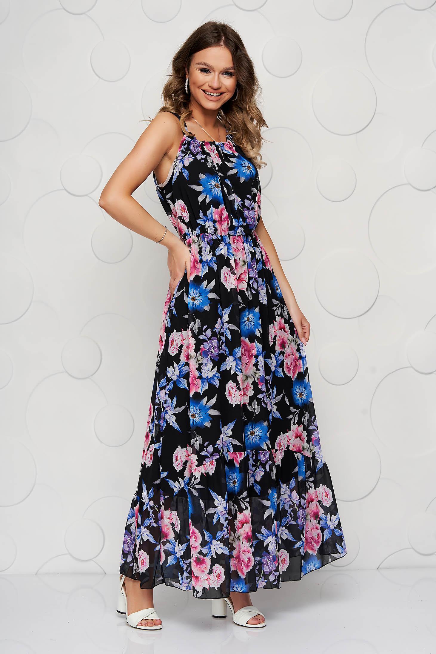 StarShinerS black dress long daily sleeveless thin fabric cloche with elastic waist