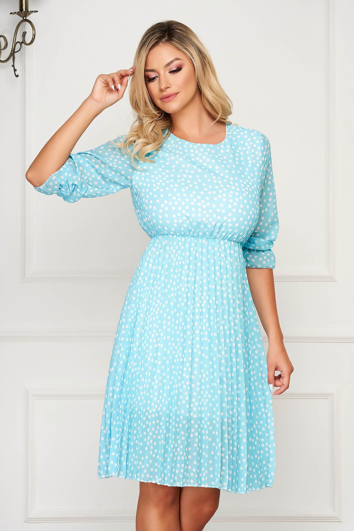 Lightblue dress short cut daily from veil fabric cloche with elastic waist dots print