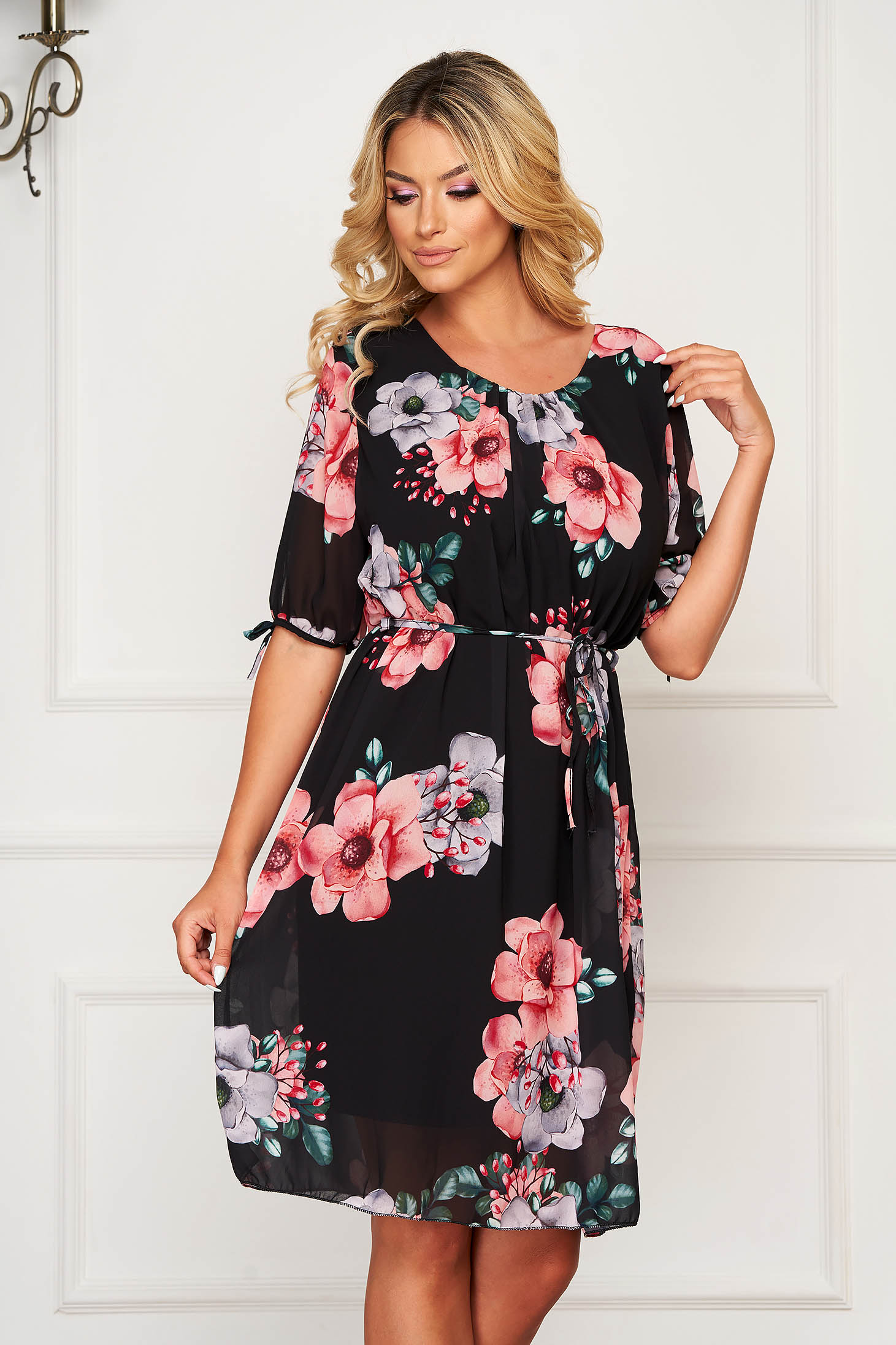 StarShinerS black dress midi daily from veil fabric is fastened around the waist with a ribbon