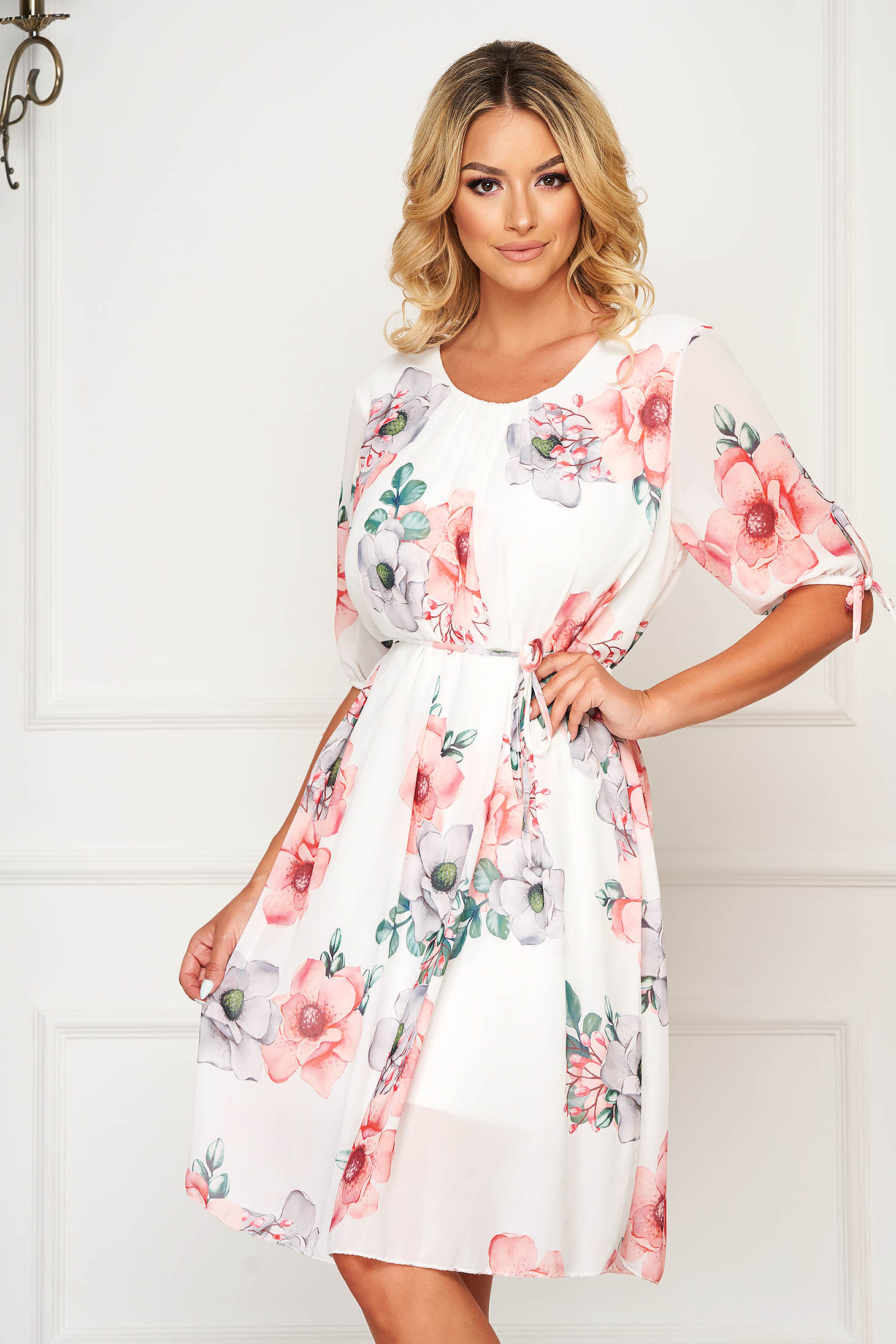 StarShinerS white dress midi daily from veil fabric is fastened around the waist with a ribbon
