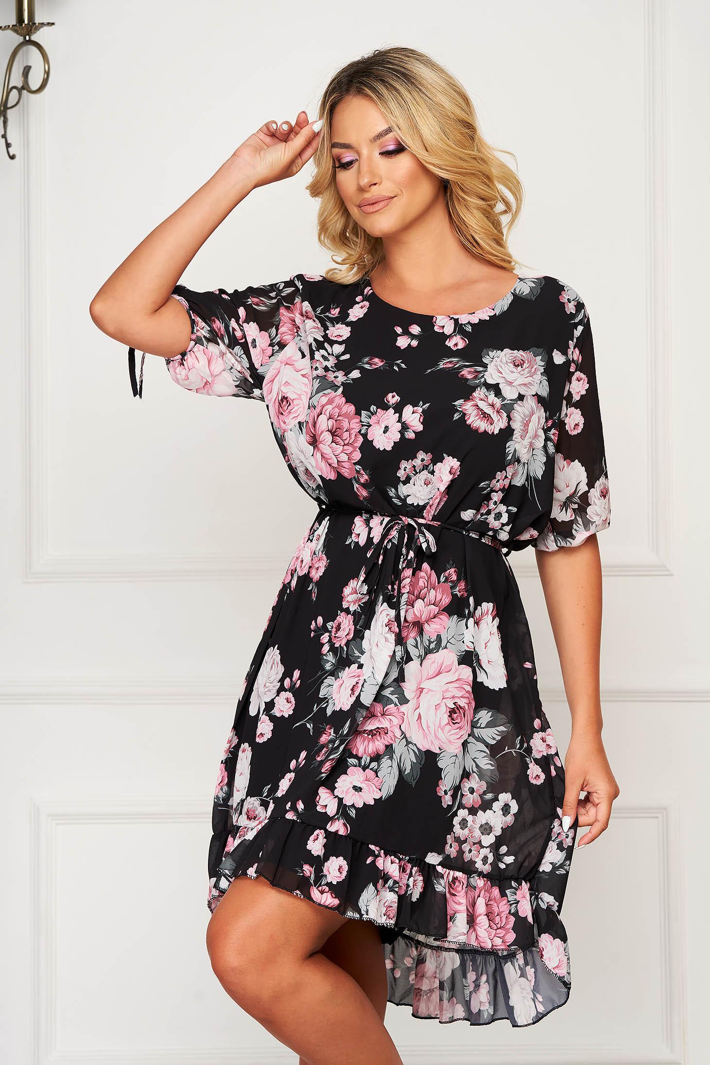 Black dress short cut daily from veil fabric straight short sleeves
