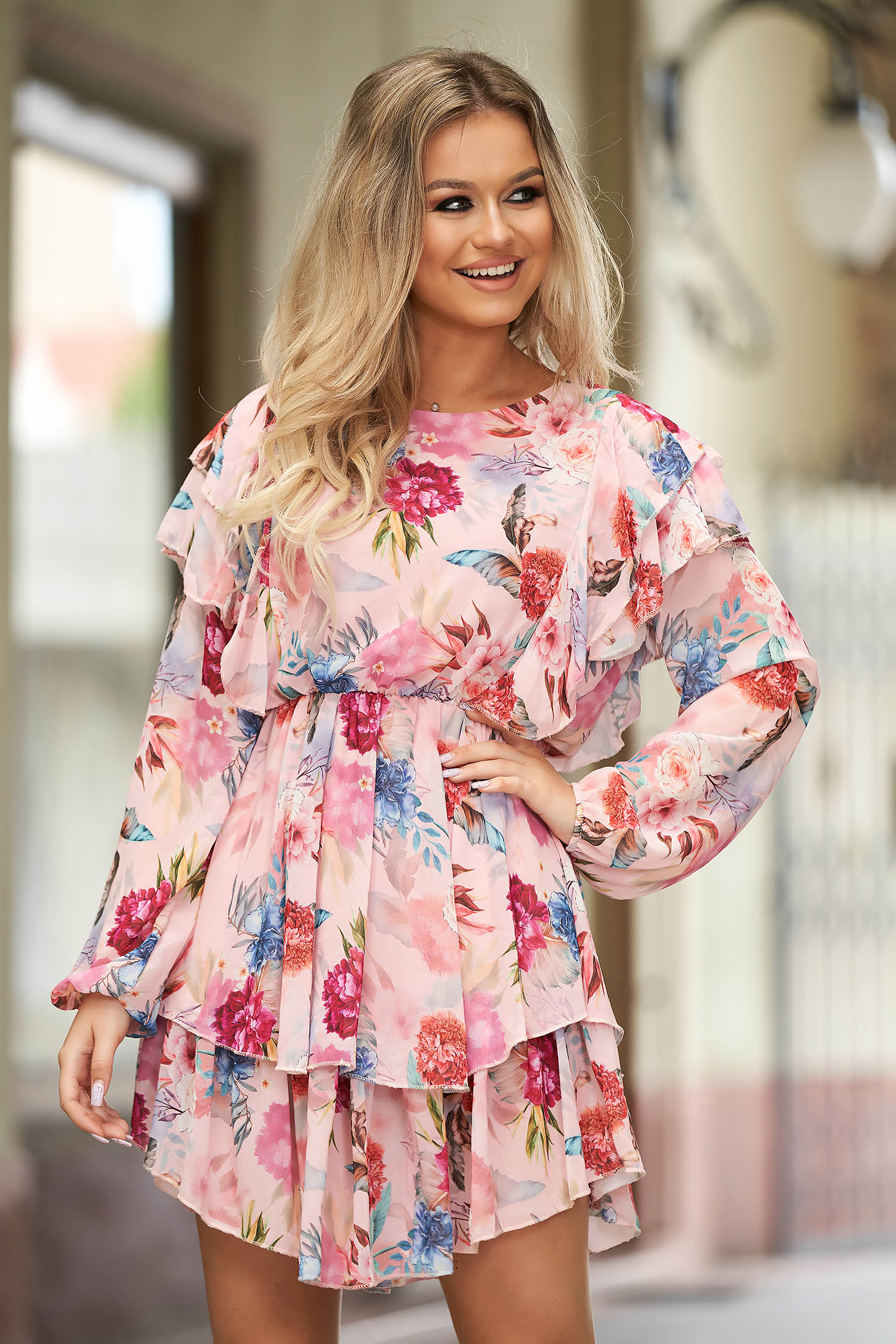 Pink dress short cut daily from veil fabric with ruffle details long sleeved